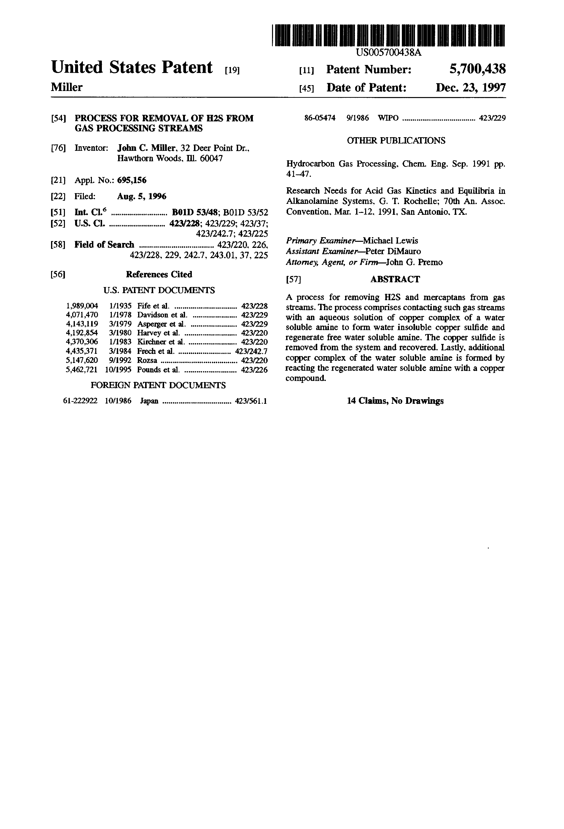 Brevet US5700438 - Process for removal of H2S from gas