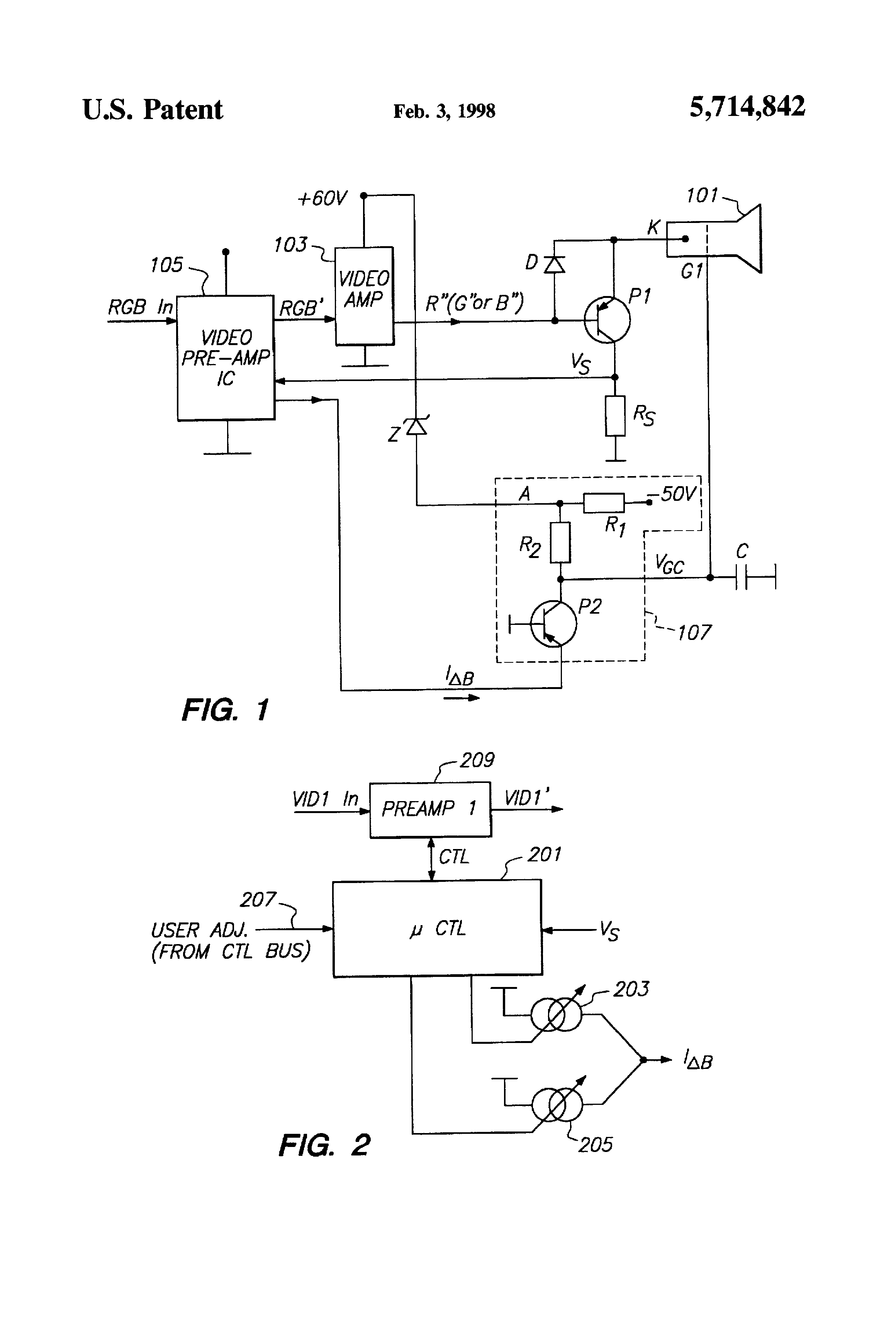 Brevet Us5714842 Automatic Cutoff Control For A Dc Coupled Crt Screen Schematic Patent Drawing