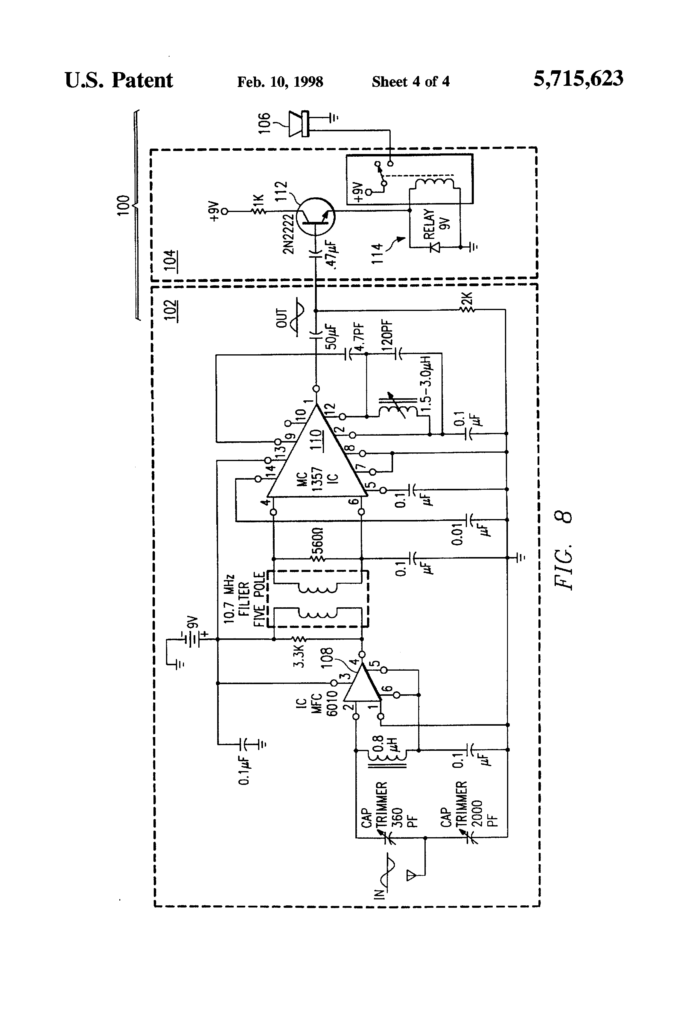 Us5715623 Firearm Alarm Having Remote Indicator An Acoustic Sensor Skii Voice Circuit The Relay Control Patent Drawing