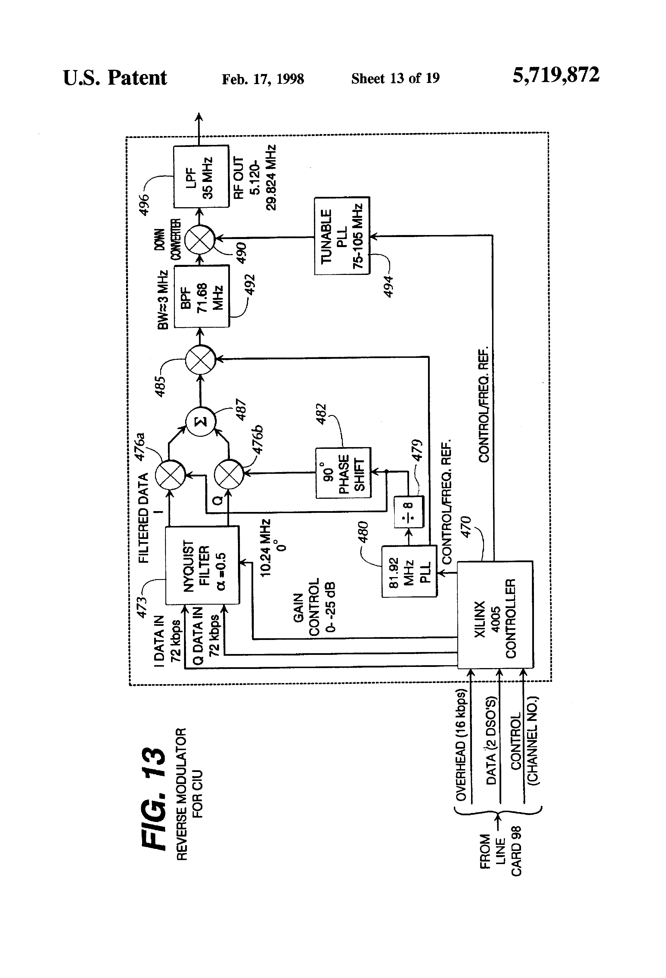 Patent Us5719872 Reverse Path Allocation And Contention Resolution Mc145170 Pll Fm Transmitter Drawing