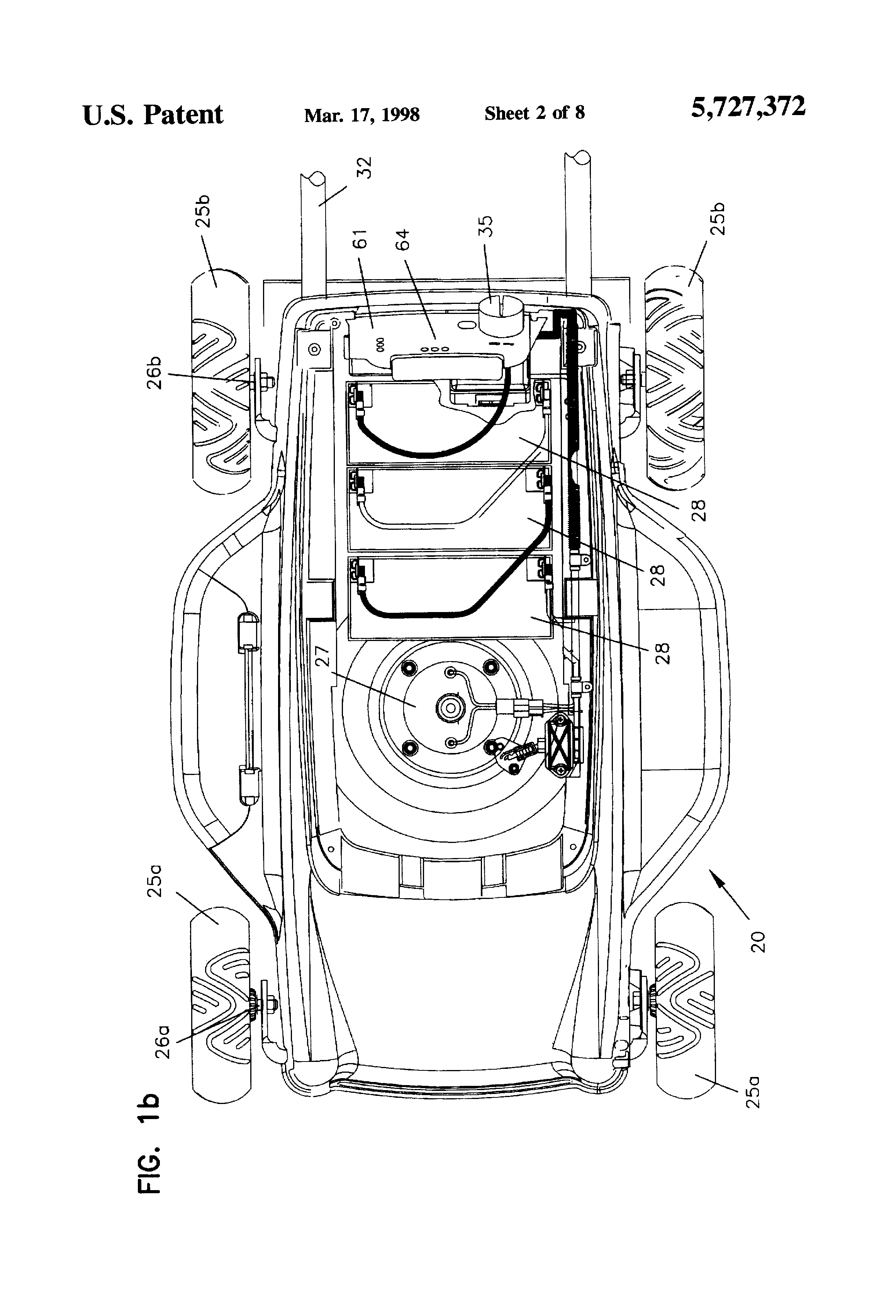patent us5727372 - on-board charging system for electric lawn mower
