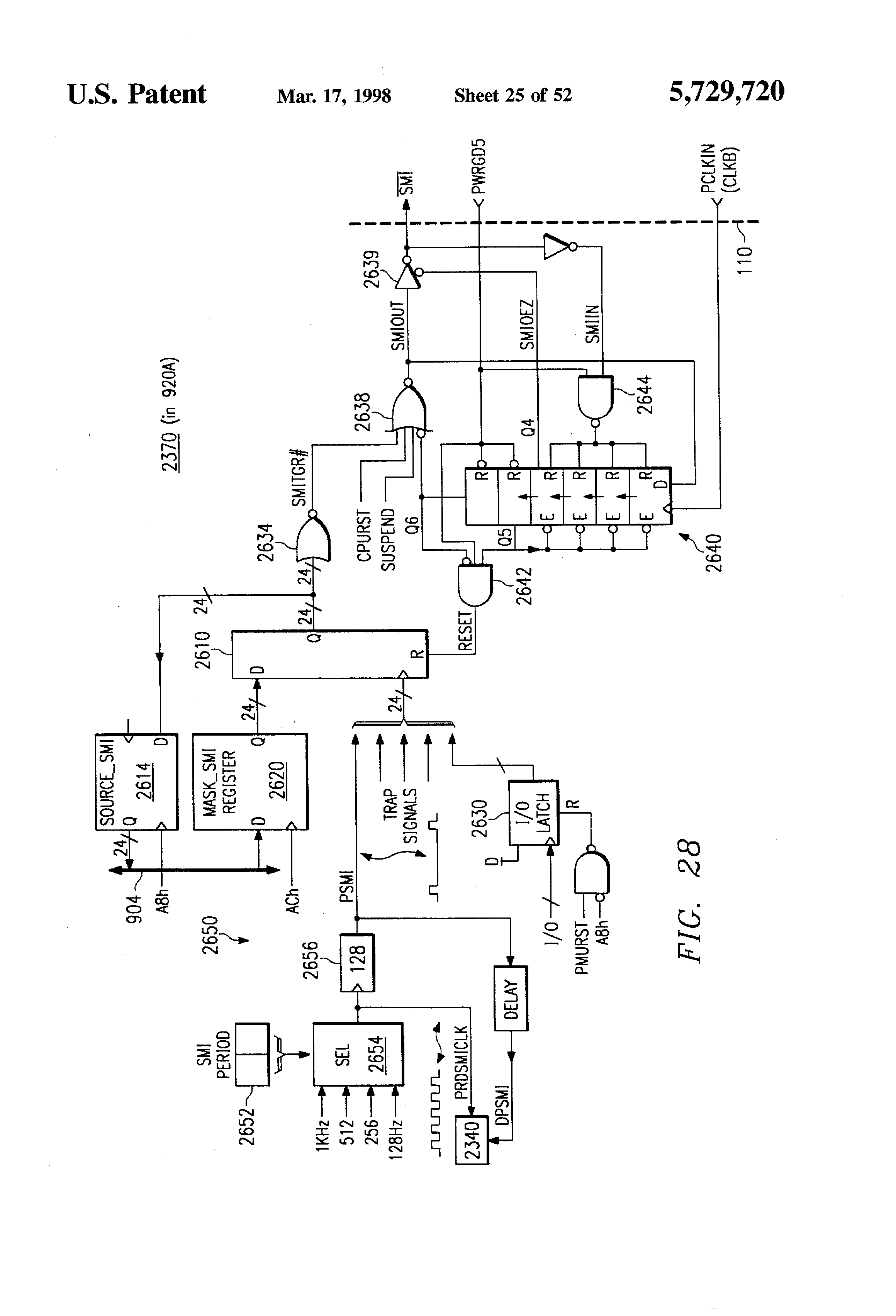 Patent Us5729720 Power Management Masked Clock Circuitry Systems Passive Tone Matrix Rather Like The Single Knob Control Drawing