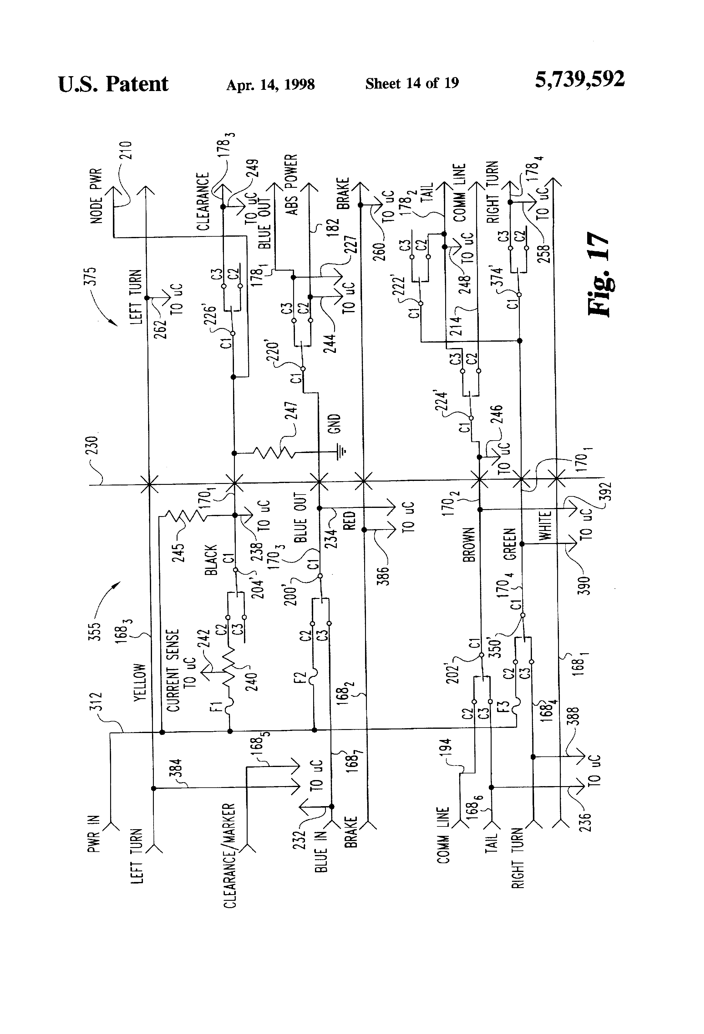 patent us5739592 - power and communications link between a tractor and trailer