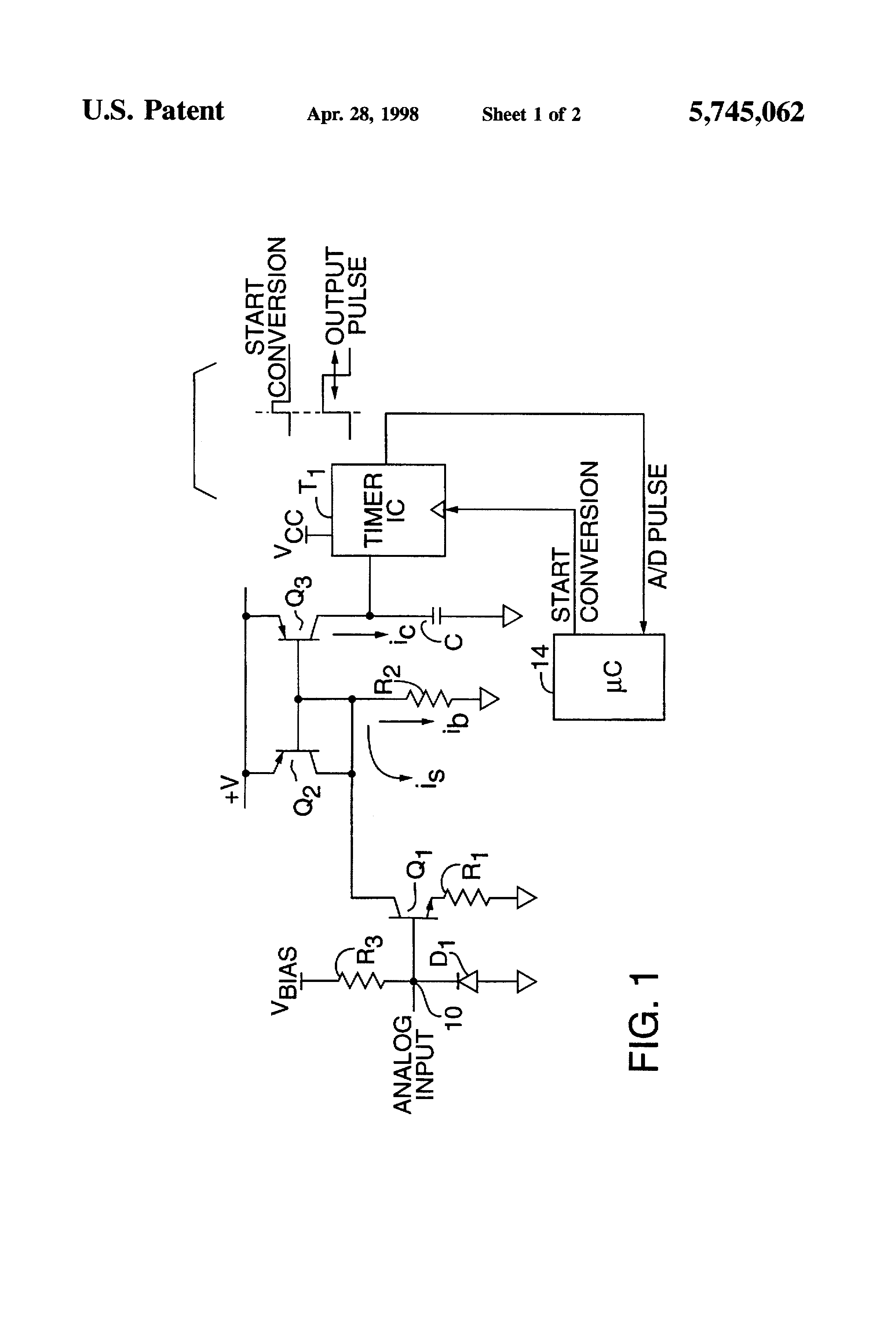 patent us5745062 - pulse width modulation analog to digital converter