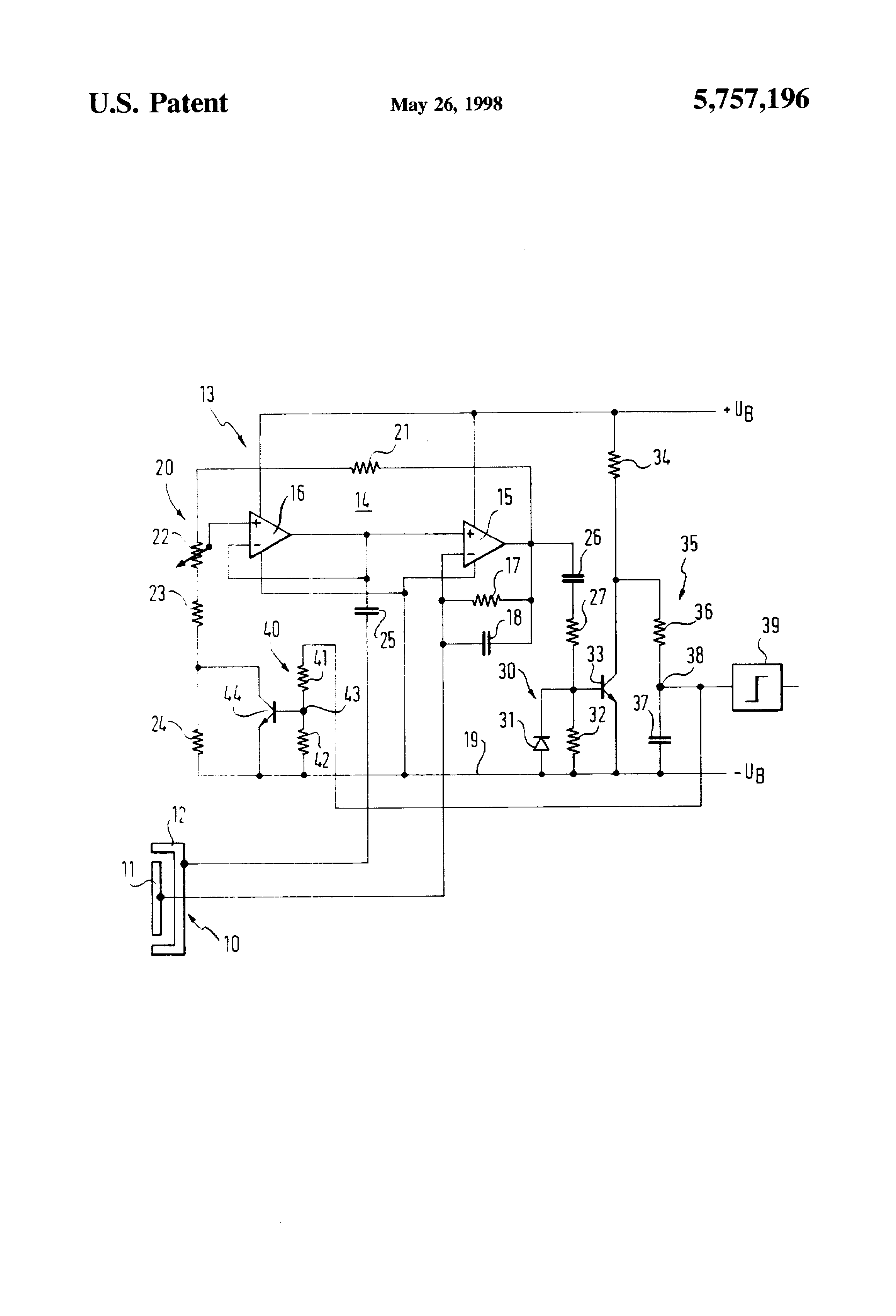 Patent Us5757196 Capacitive Switch Actuated By Changes In A Sensor Temperature Compensated Proximity Detector Drawing