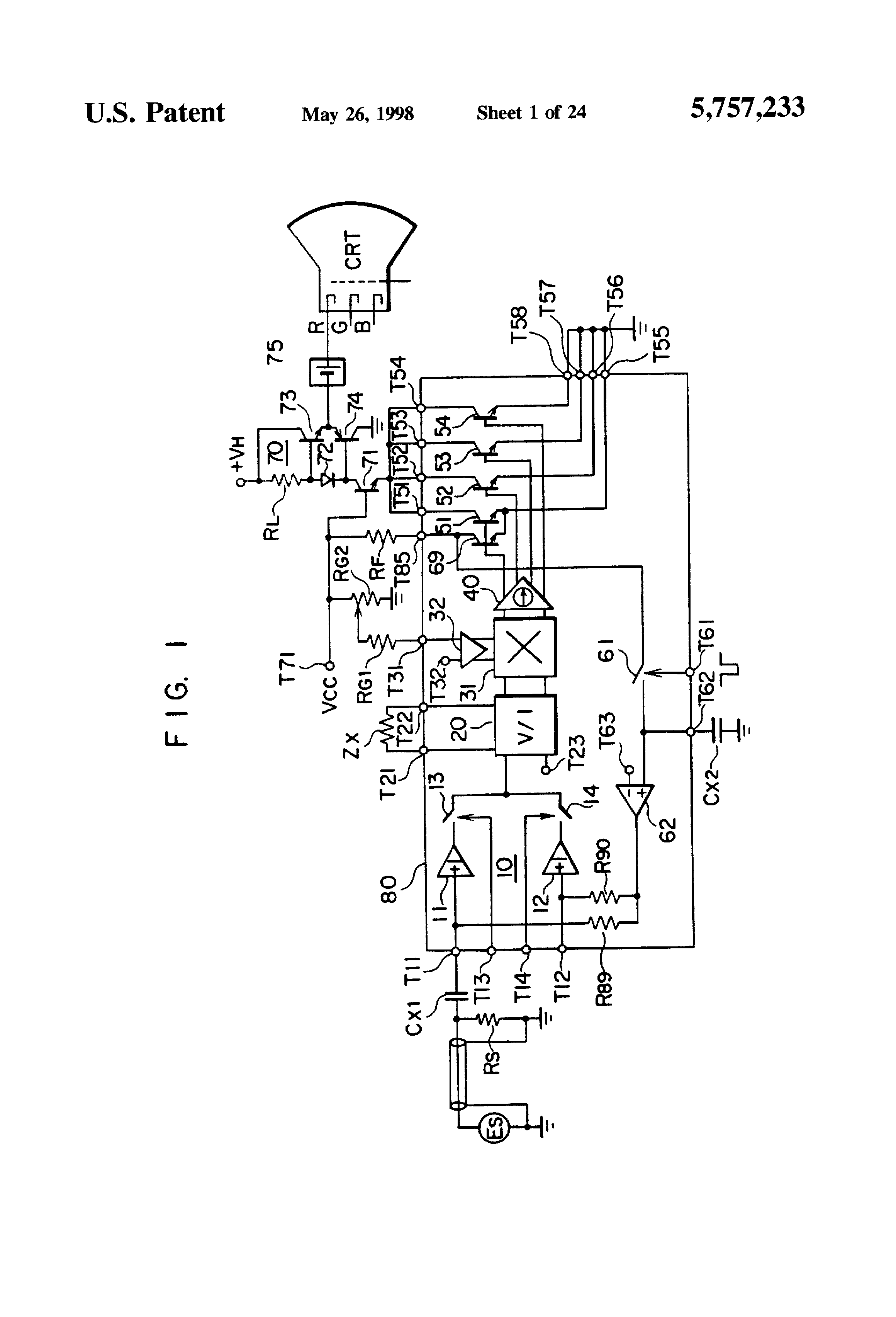 Patent Us5757233 Complementary Transistor Circuit And Amplifier Crt Monitor Schematic Diagram Drawing