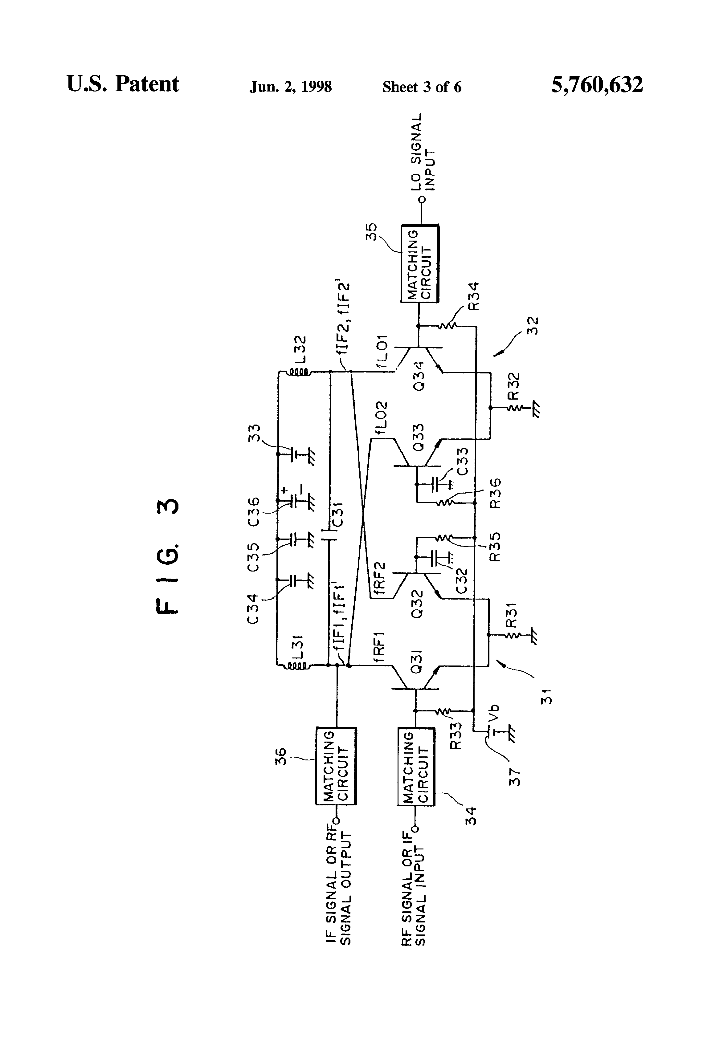 patent us5760632 - double-balanced mixer circuit