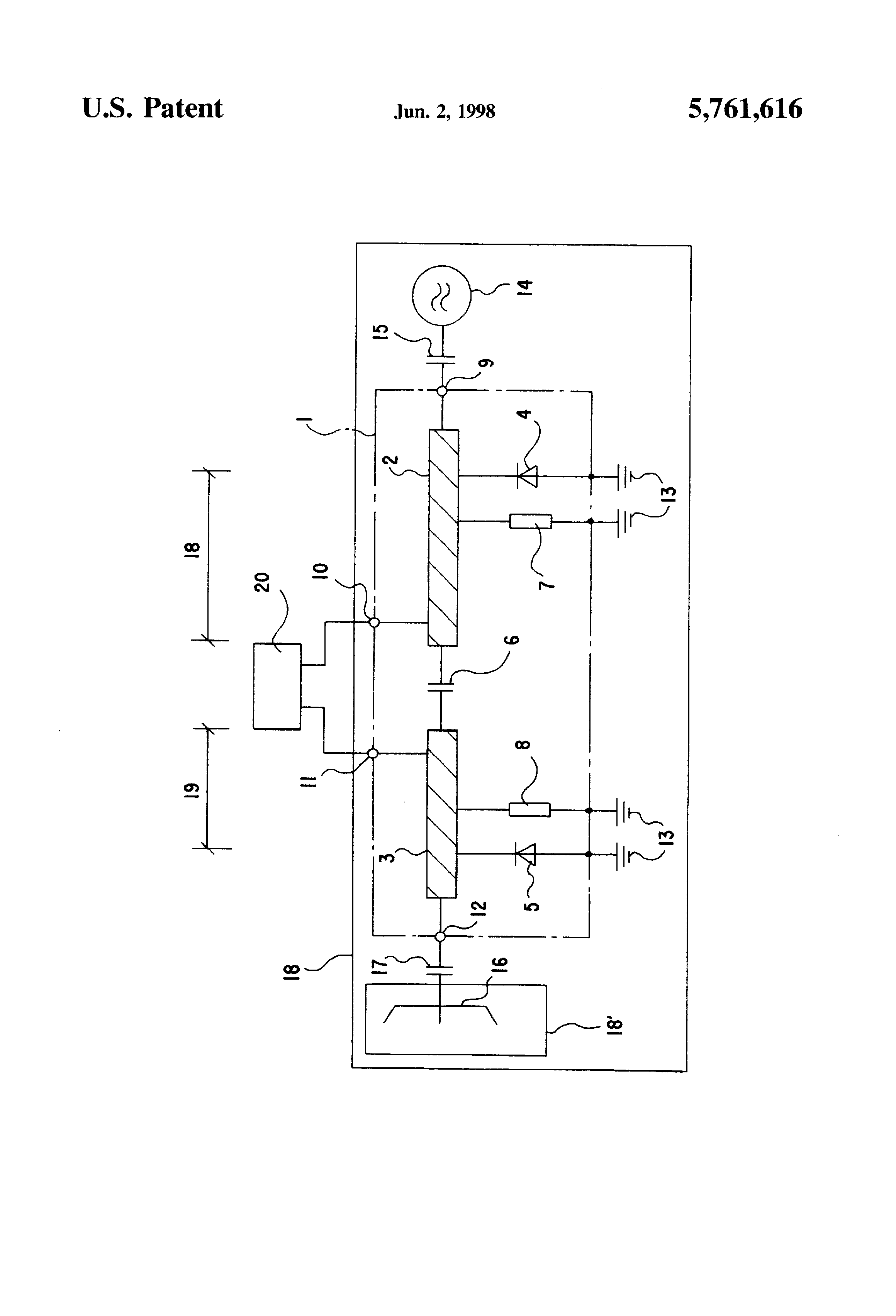 Patent US5761616 - Frequency mixer for a doppler radar module