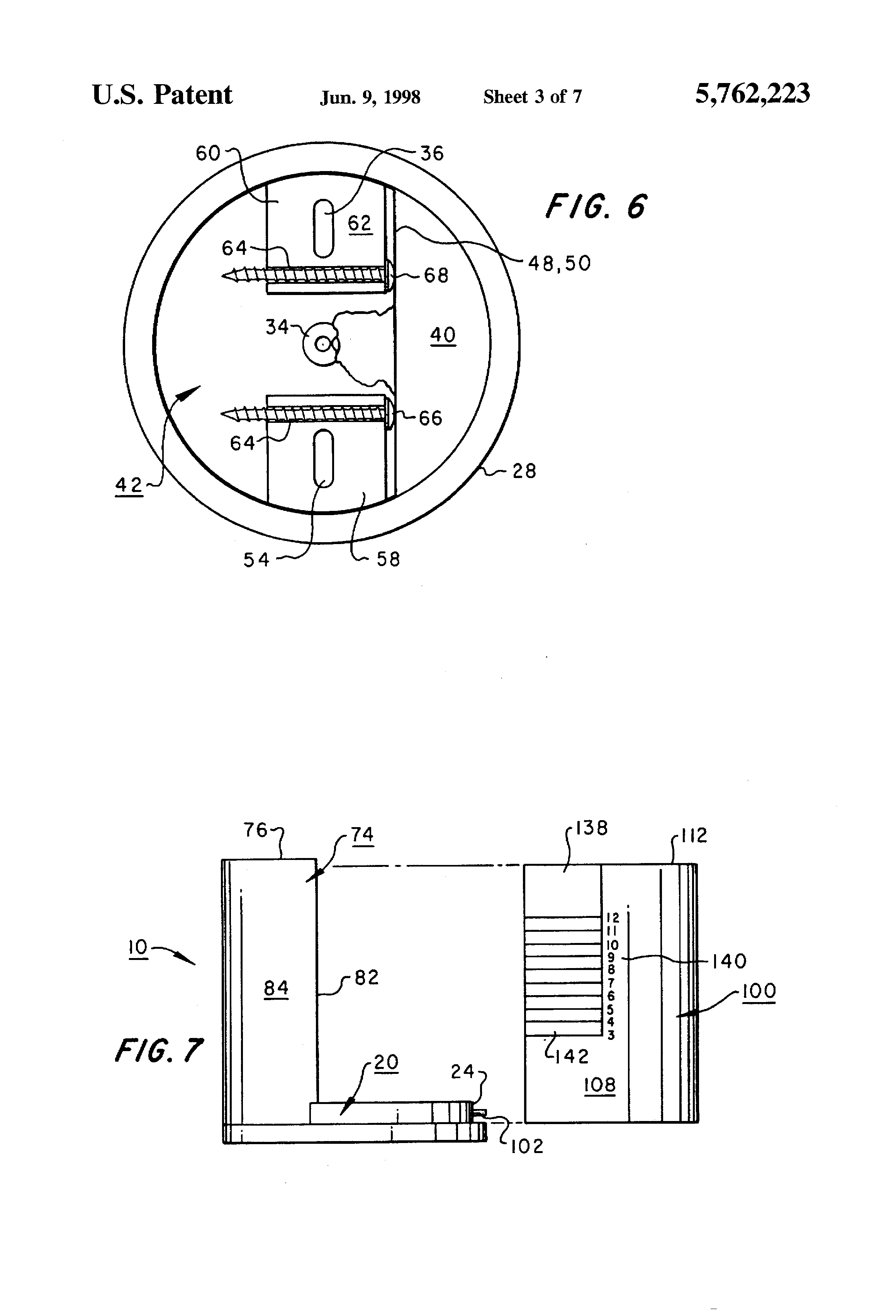 Patent Us5762223 Electrical Box For Ceiling Fan Support