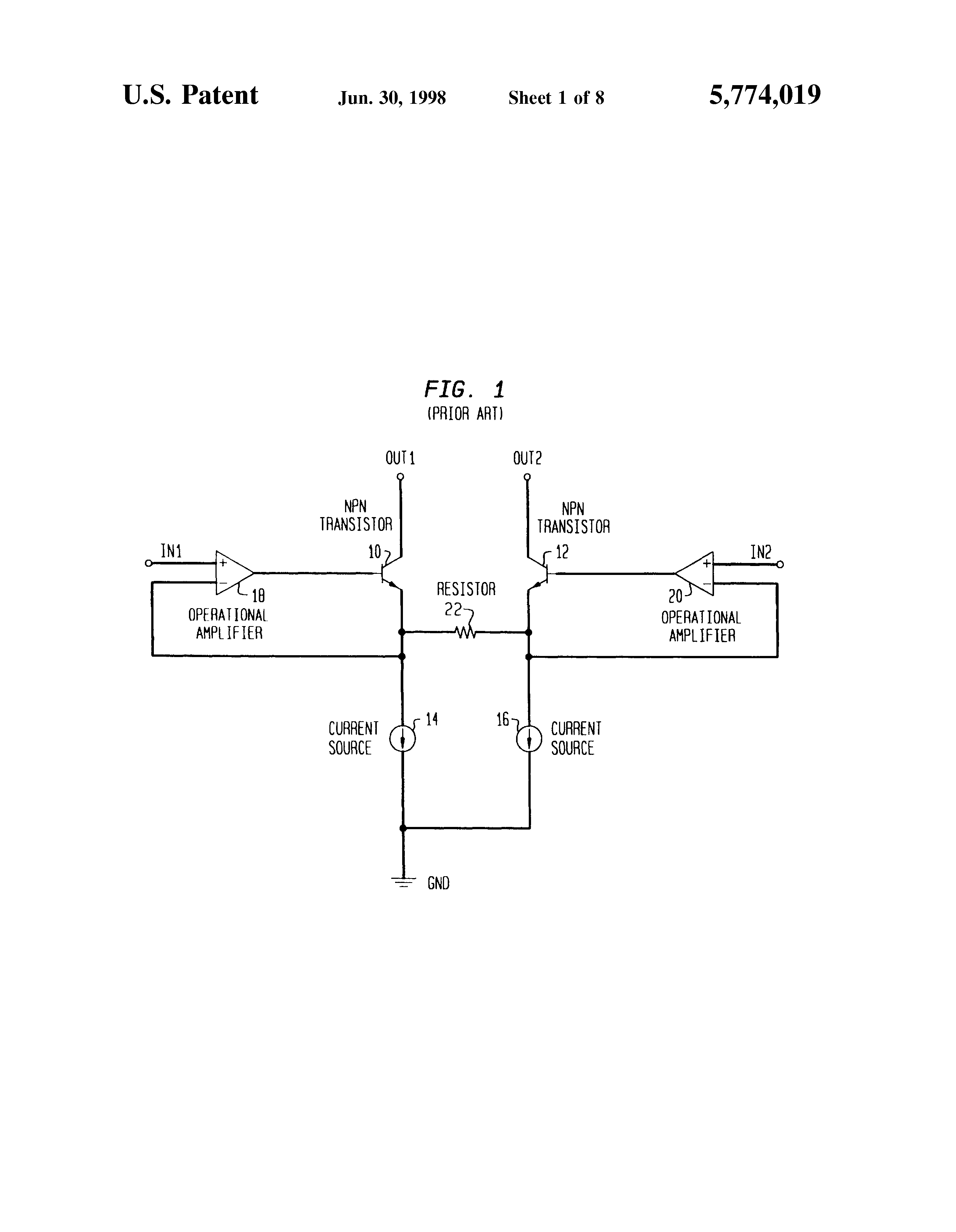 Patent Us5774019 Low Distortion Differential Amplifier Circuit Phase Shift Oscillator Explanation Using Opamp Transistor Drawing