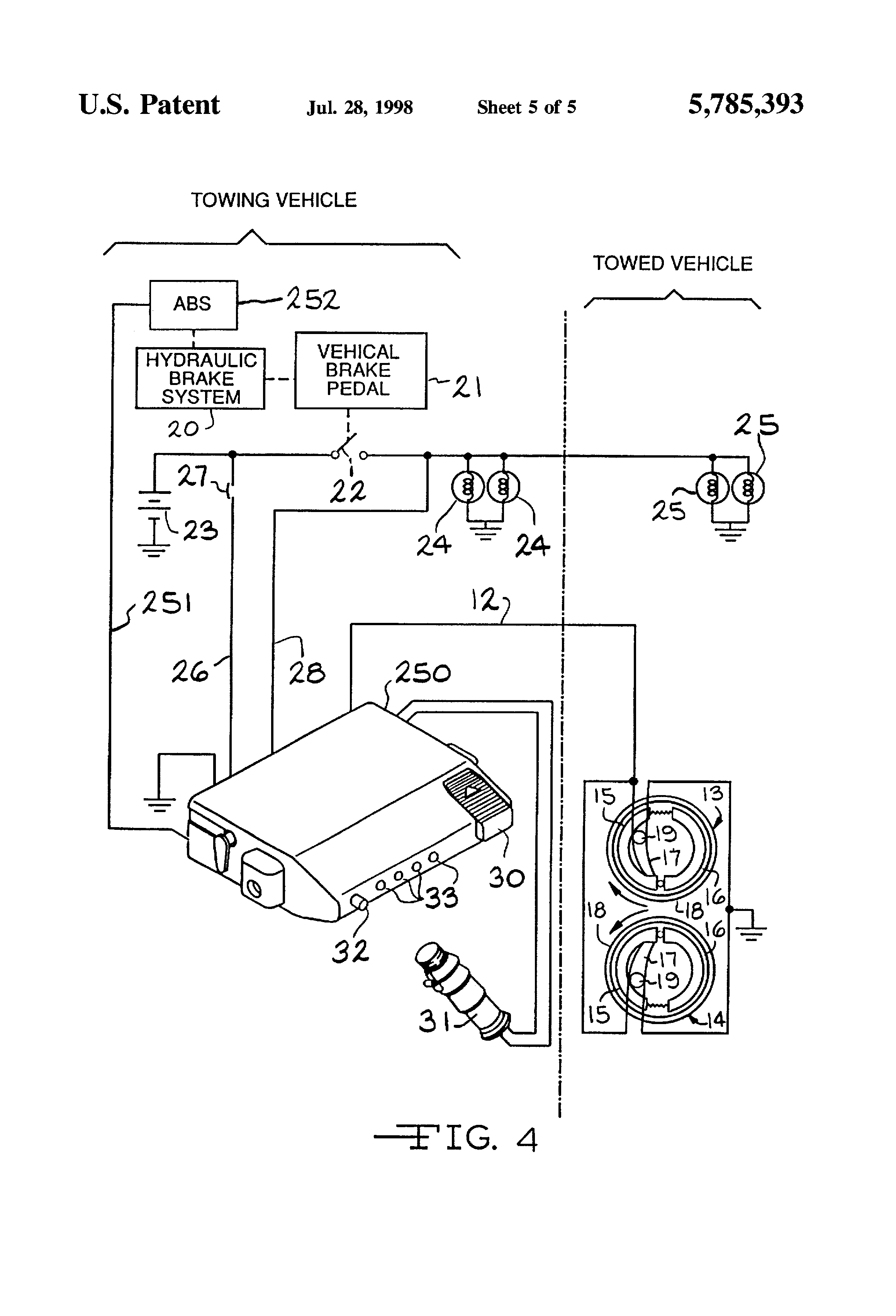 patent us5785393 electronic trailer brake controller. Black Bedroom Furniture Sets. Home Design Ideas