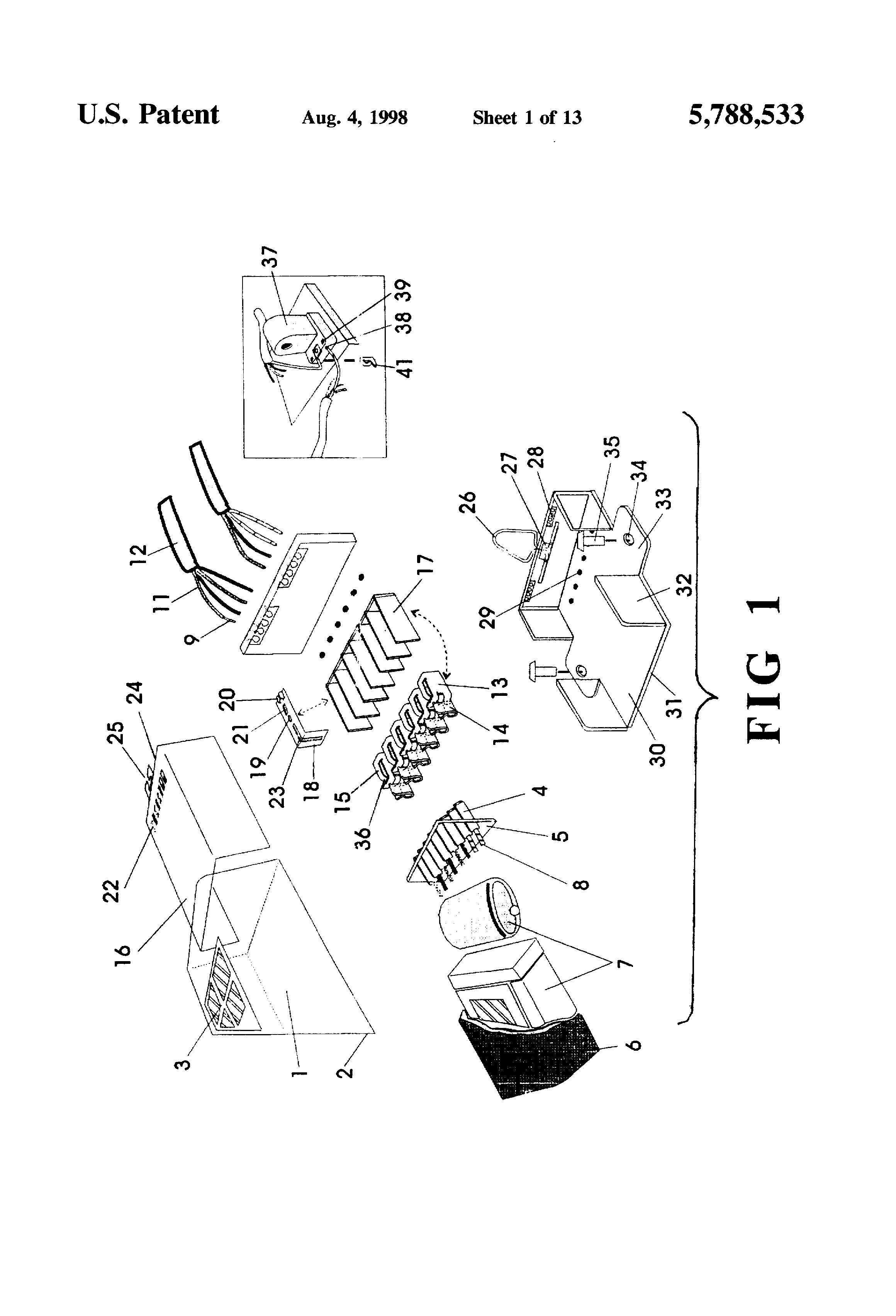 patent us5788533 ballast system for interconnection with Light Trap Fluorescent Door patent drawing