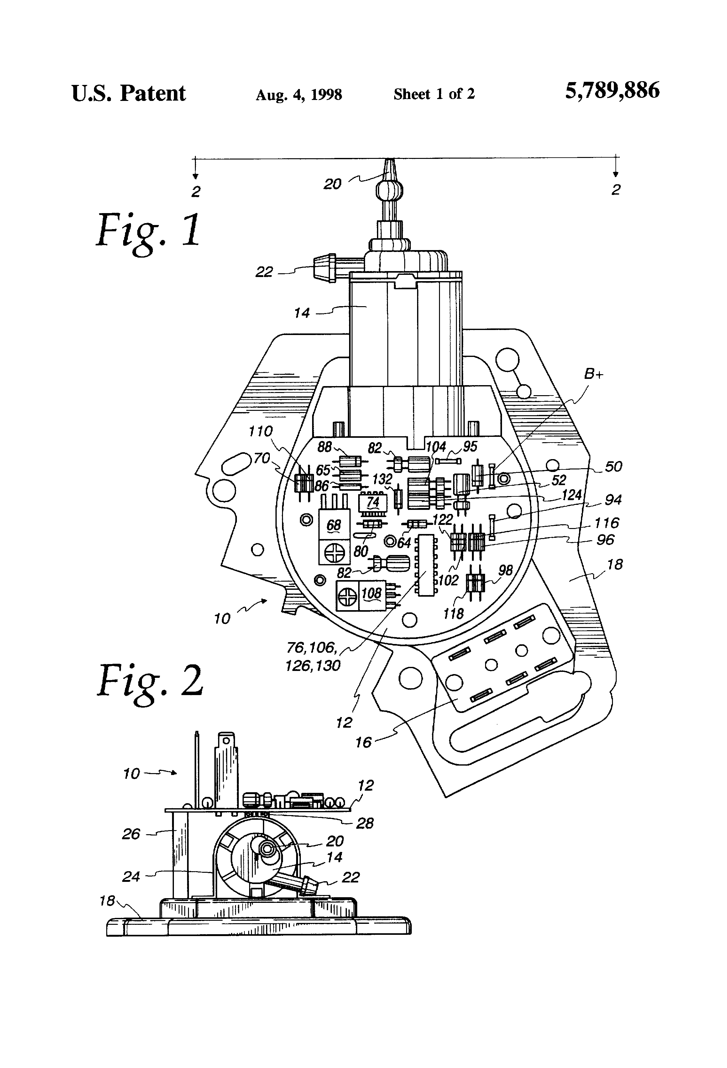 patent us5789886 - wiper motor and delay control with windshield washer pump