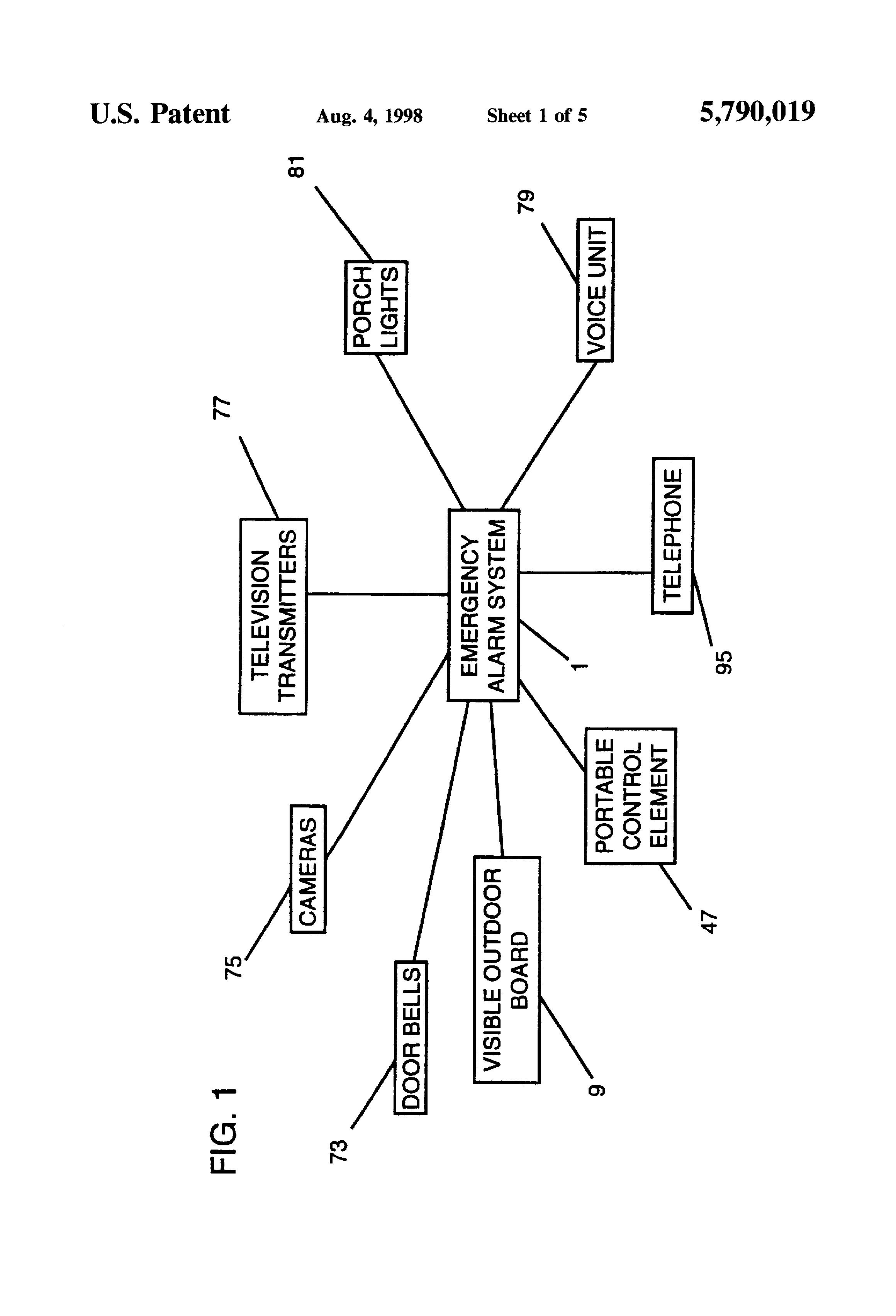 Patent Us5790019 Emergency Alarm System Google Patents Door Bell Circuit Transistor Besides Ultrasonic Sensor Diagram Drawing