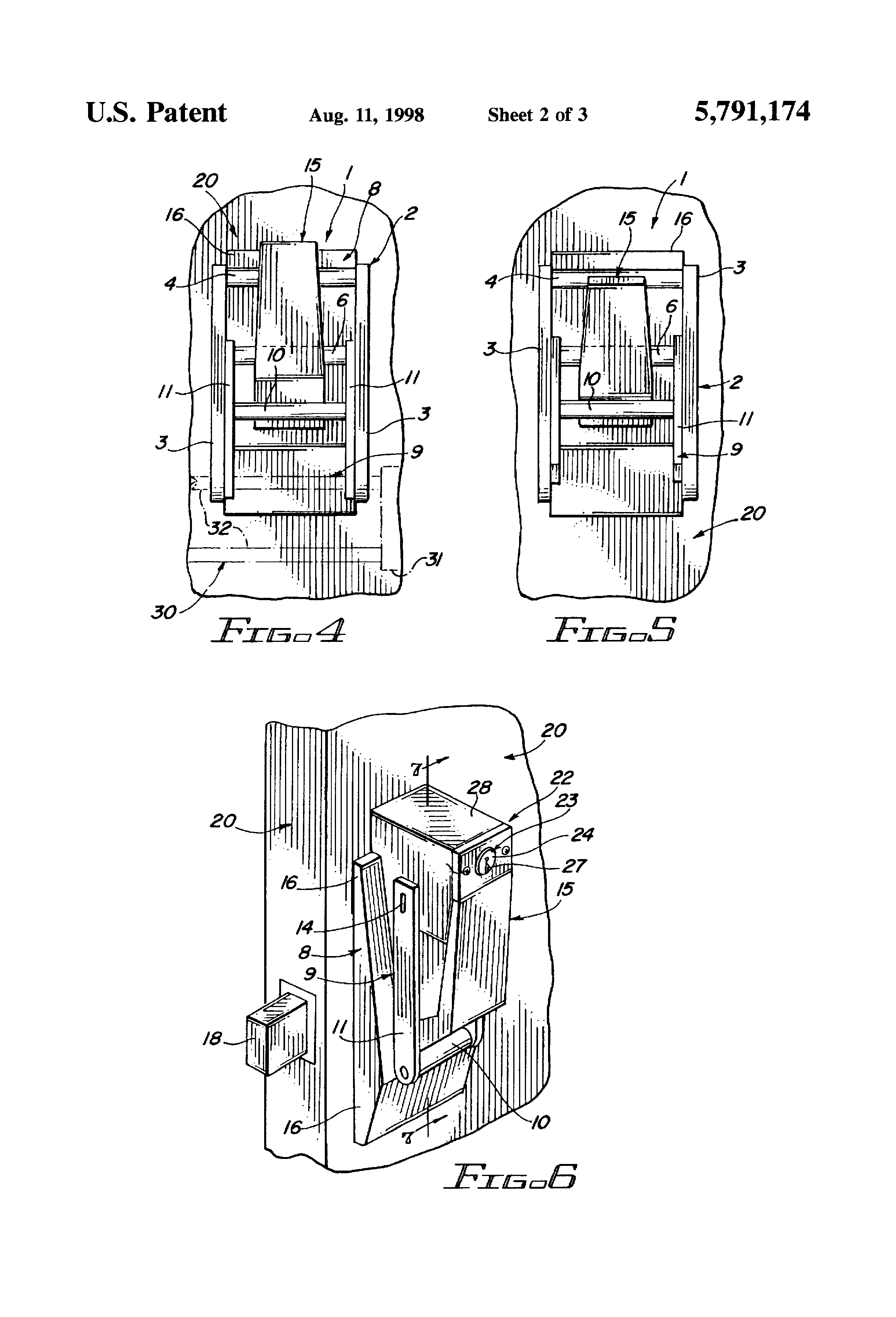 Patente Us5791174 Paddle Handle Locks Google Patentes Nippon Central Locking Wiring Diagram Patent Drawing
