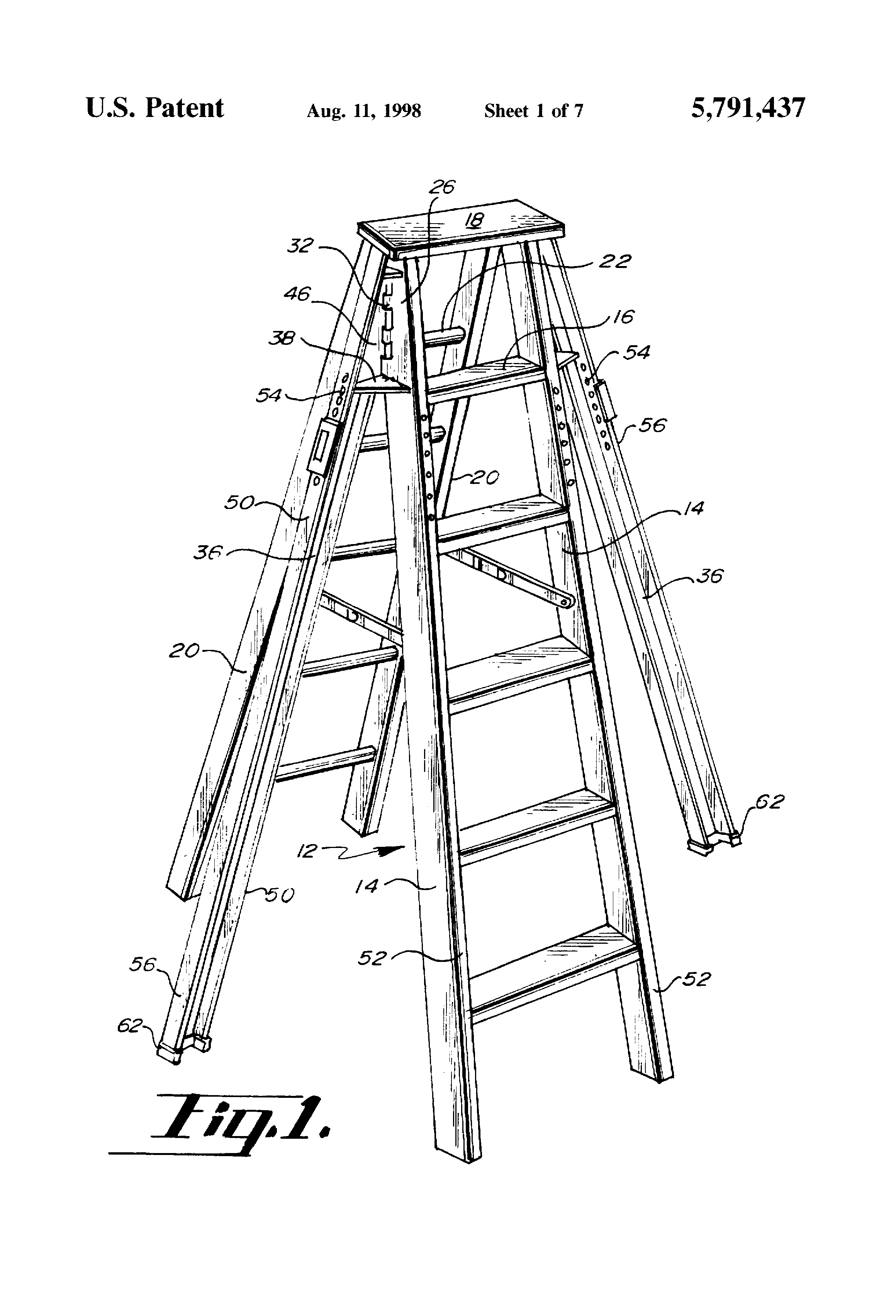 Patent Us5791437 Ladder With Nesting Brace Gusset Plate