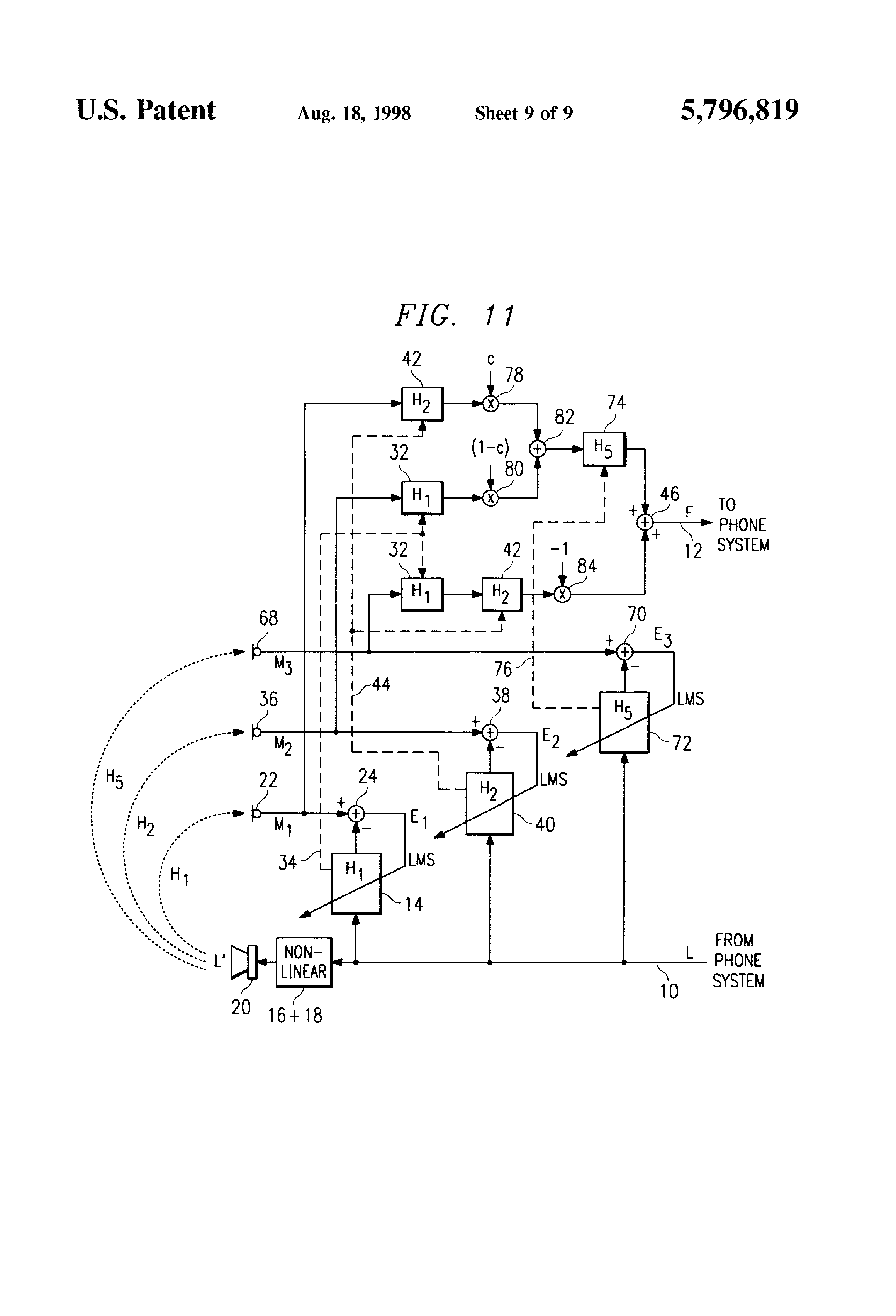 patent us5796819 - echo canceller for non-linear circuits