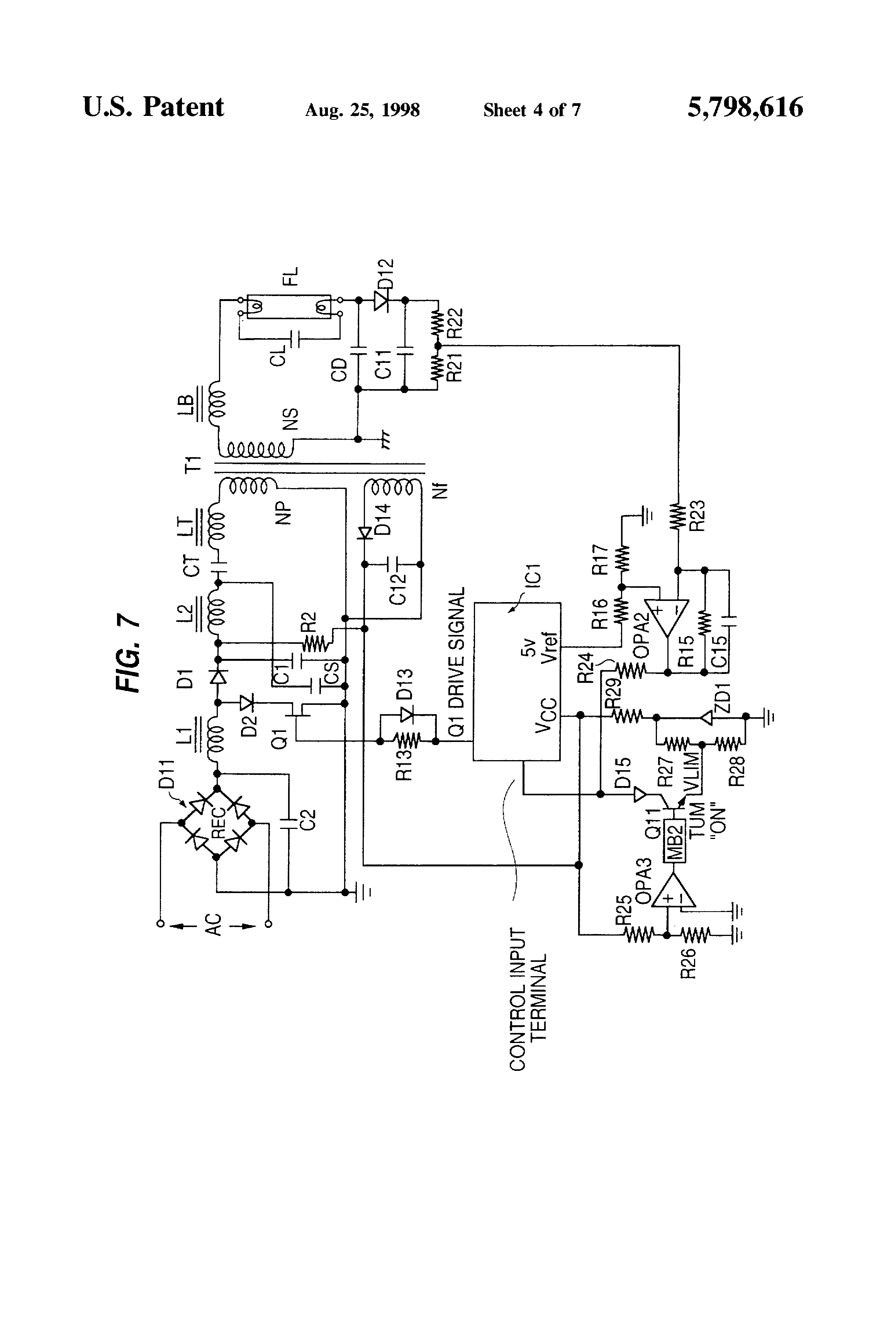 Patent Us5798616 Fluorescent Lamp Circuit Employing Both A Step Up Energy Saving Diagram Controlcircuit Drawing