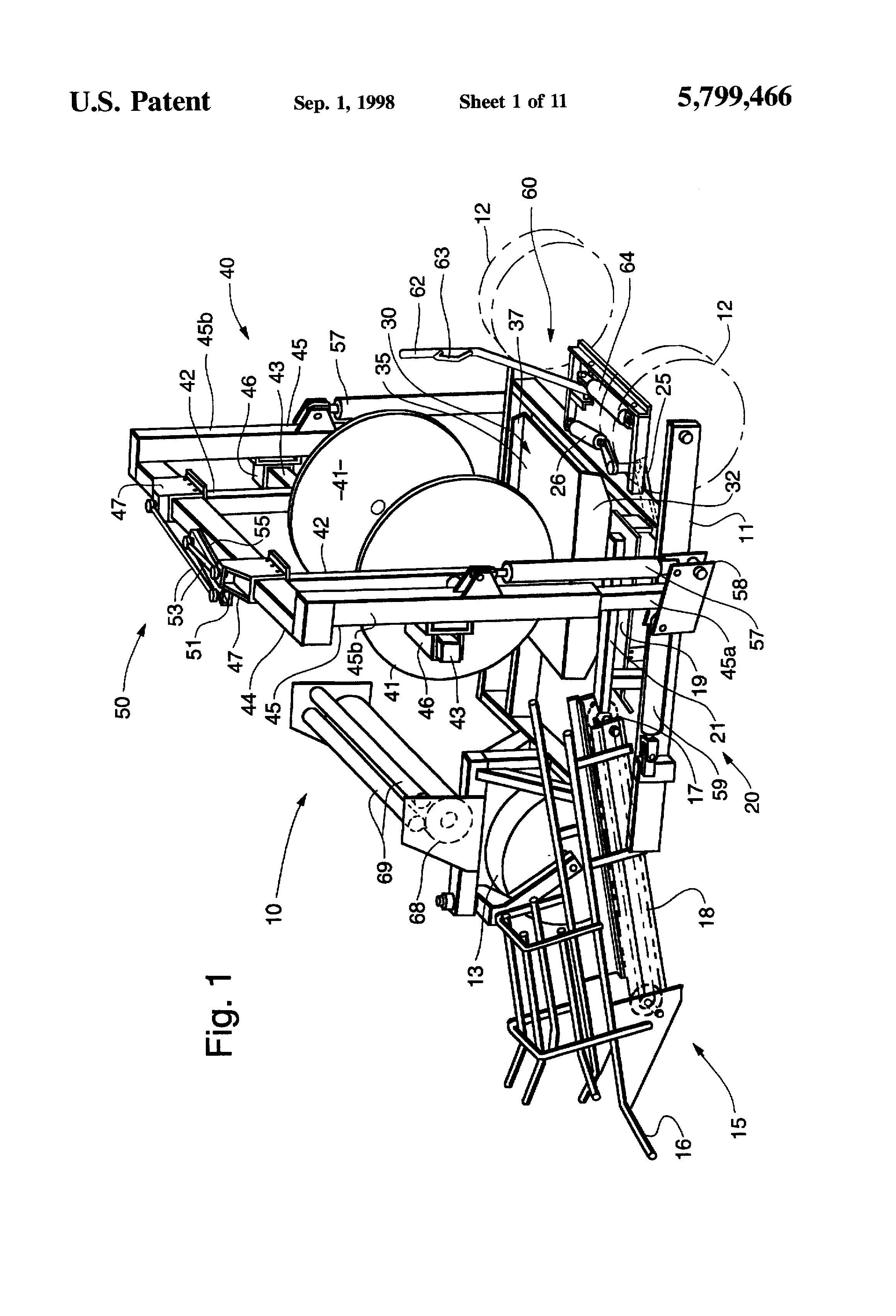 patent us5799466 universal bale wrapper and accumulator Amish Baling Hay patent drawing
