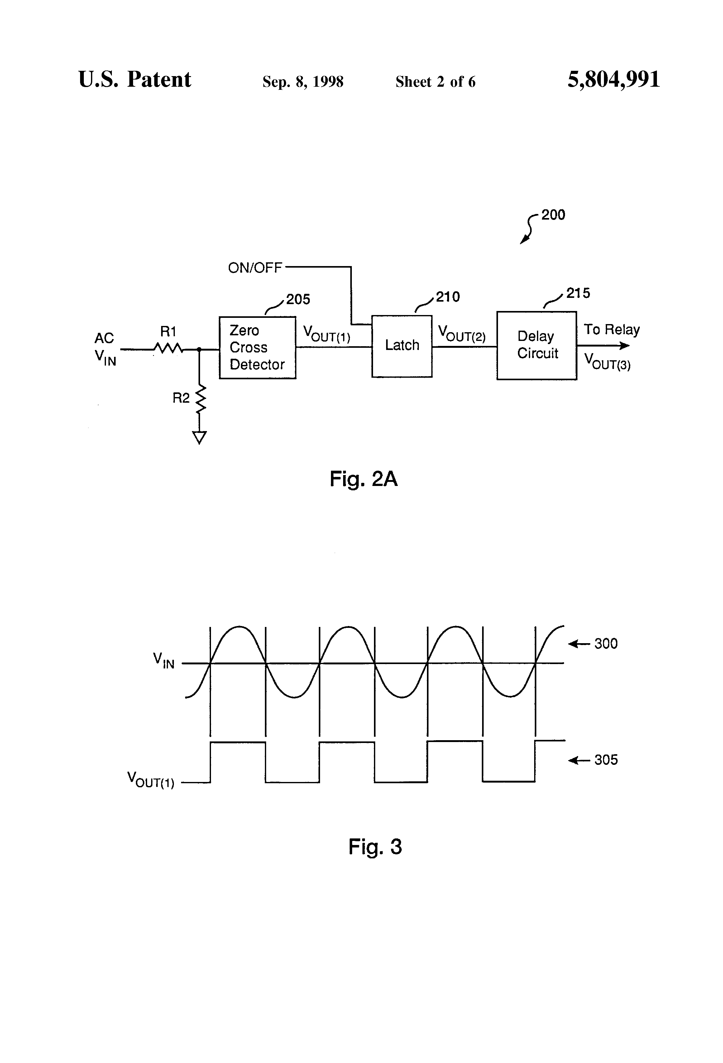 Us5804991 Zero Crossing Circuit For A Relay Cell Phone Detector Diagram On Patent Drawing