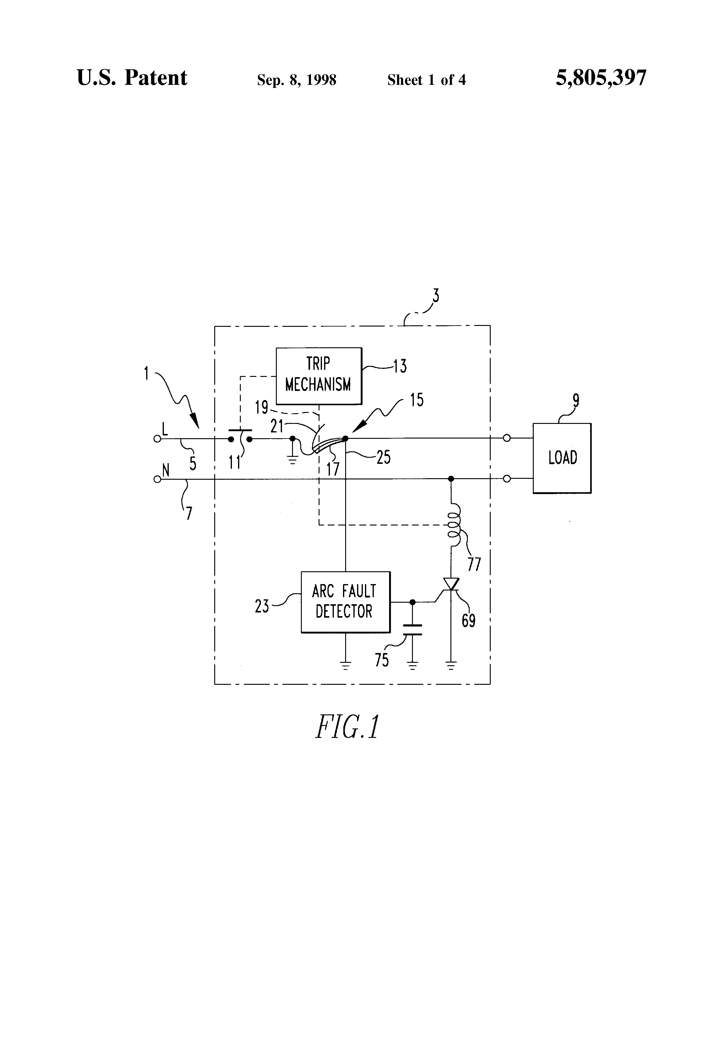 Patent Us5805397 Arcing Fault Detector With Multiple Channel Pass Seymour Arcfault Circuit Interrupter Afci Drawing