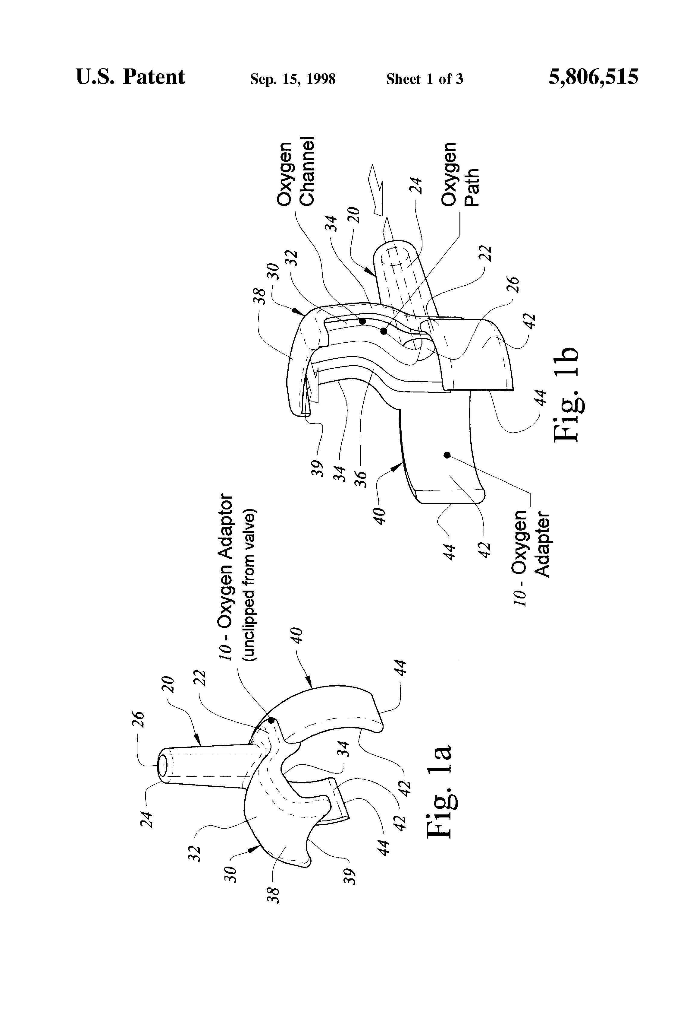 patente us5806515 - supplemental oxygen adapter for tracheostomy speaking valves