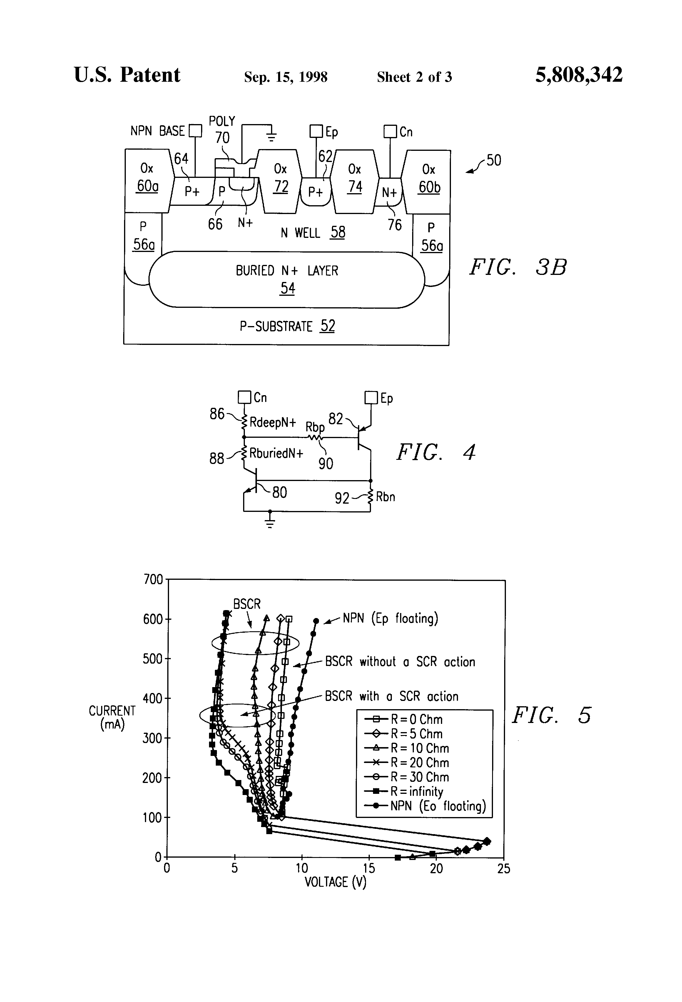 Patent Us5808342 Bipolar Scr Triggering For Esd Protection Of High Turnon Characteristics Electronic Circuits And Diagram Drawing