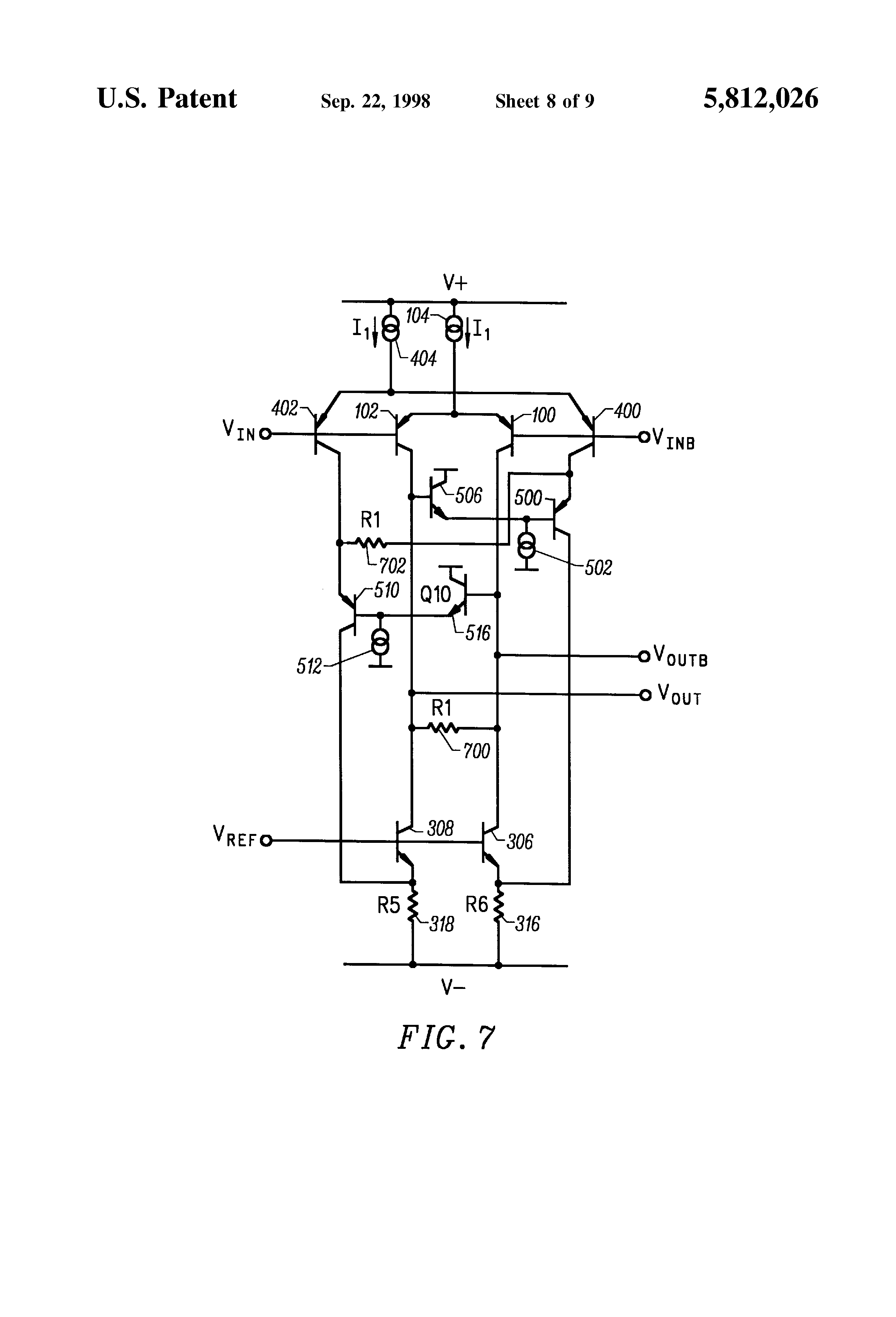 Brevet Us5812026 Differential Amplifier With Improved Voltage Gain Turn A Compensated Current Sink Into Common Emitter Ce Patent Drawing