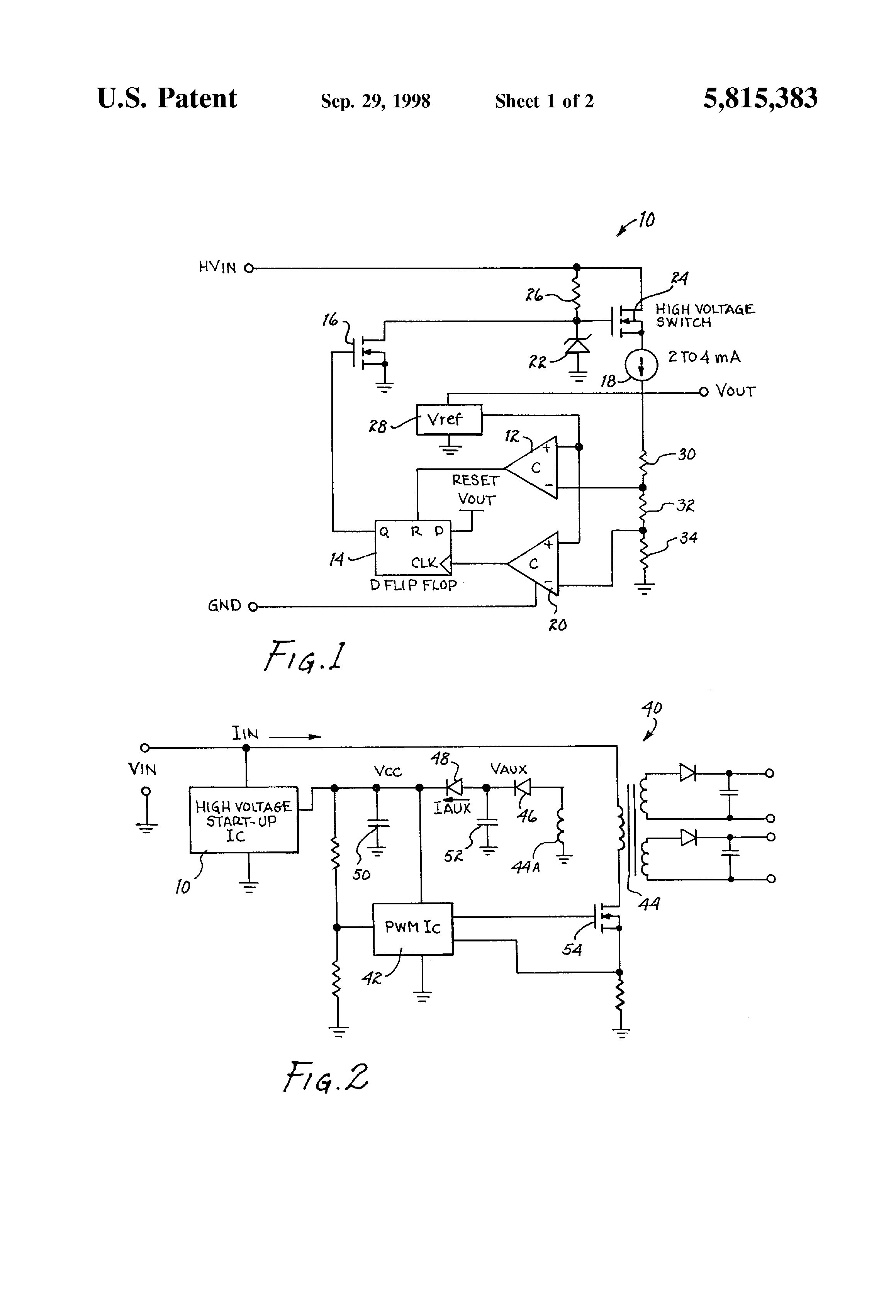 Patent Us5815383 High Voltage Start Up Circuit And Method Therefor Discrete Pwm Generator Drawing