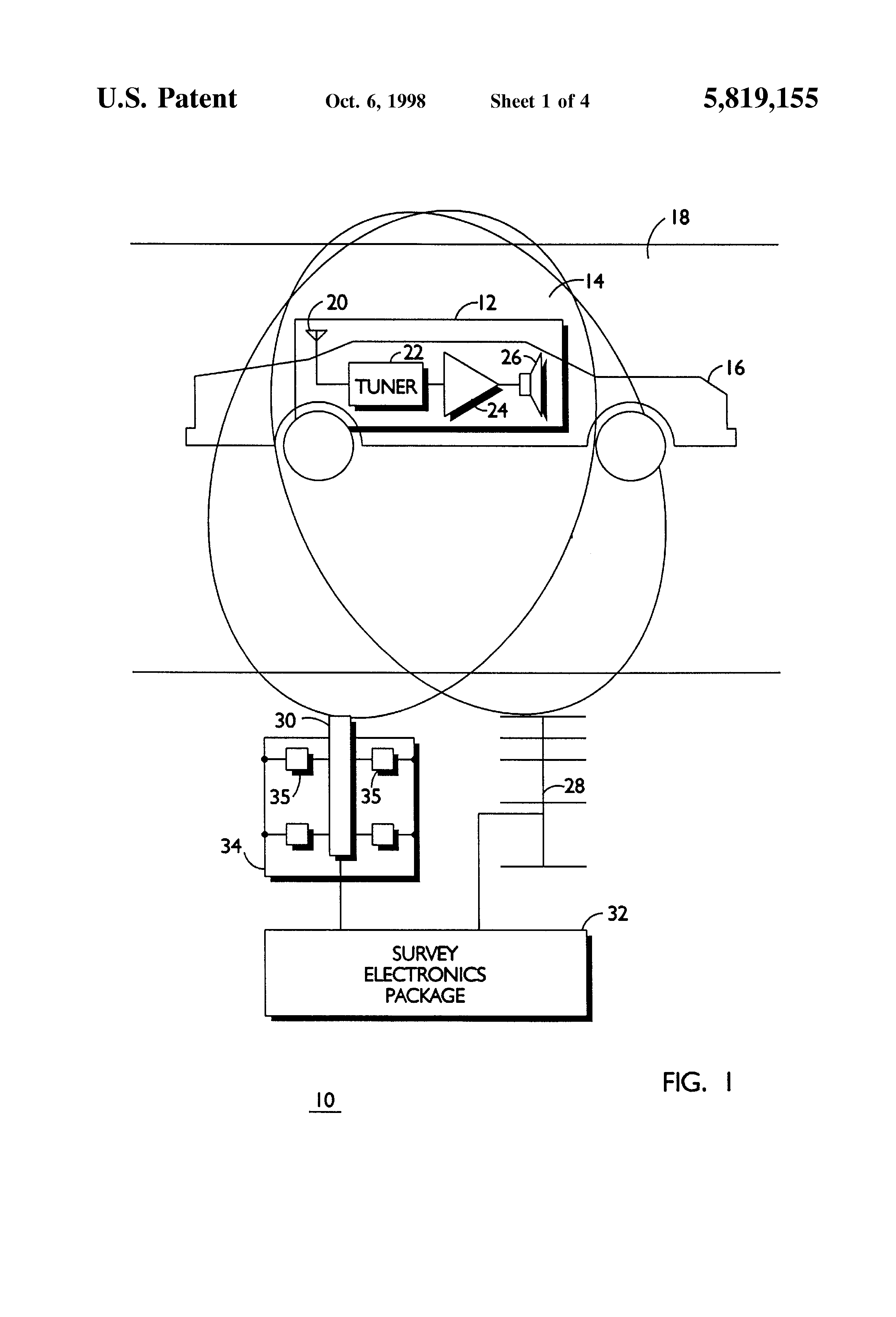 Patent Us5819155 Active System And Method For Remotely Identifying Booster Antenna Circuit 550khz To 1650khz Drawing
