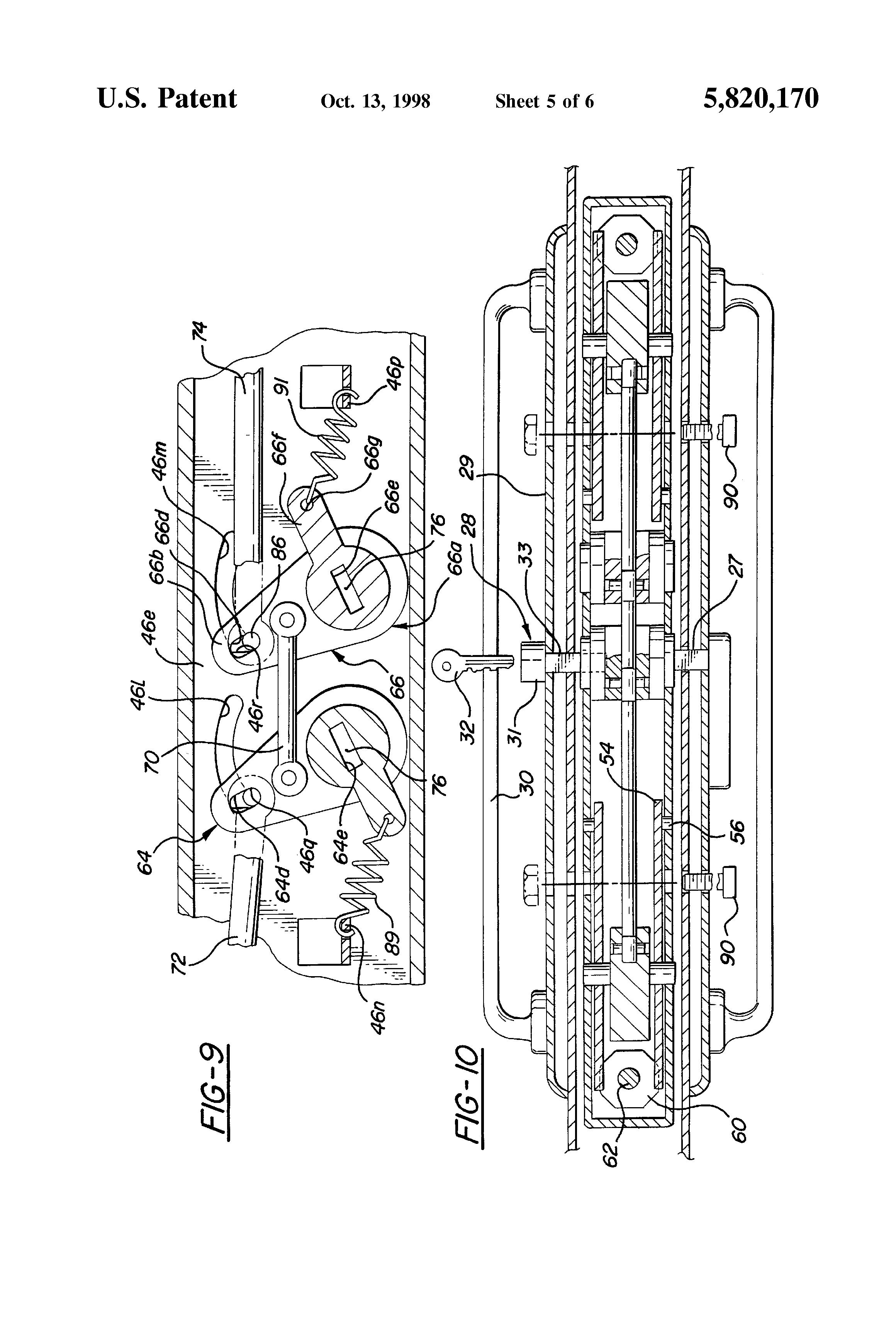 Patent Us5820170 Multi Point Sliding Door Latch Google