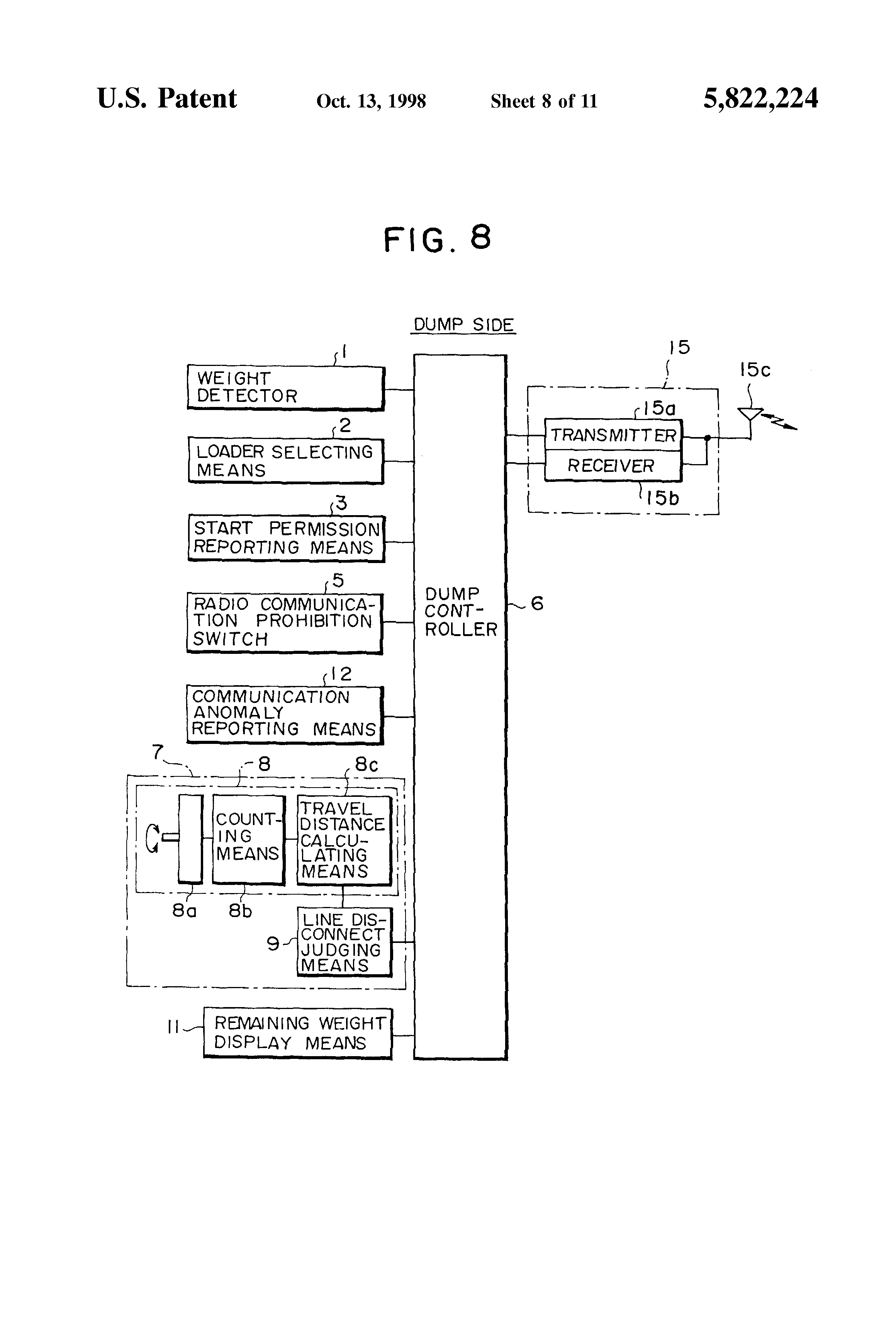 Us5822224 Load Weight Monitoring System For Dump Connect Circuit Is Functionally Identical To A Patent Drawing