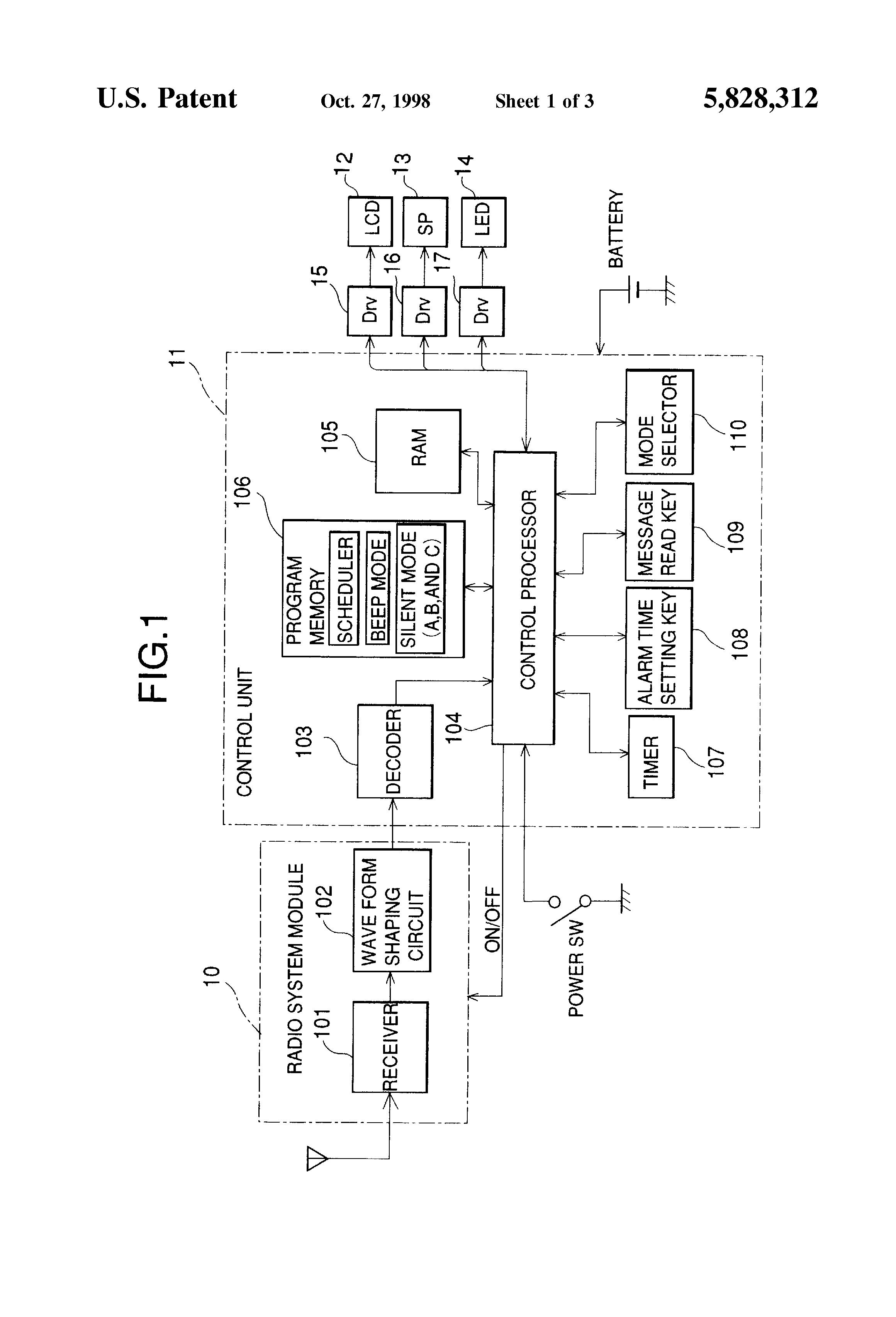 Patent Us5828312 Reminder Apparatus And Method Google Patents Threemode Tone Generator Circuit Drawing