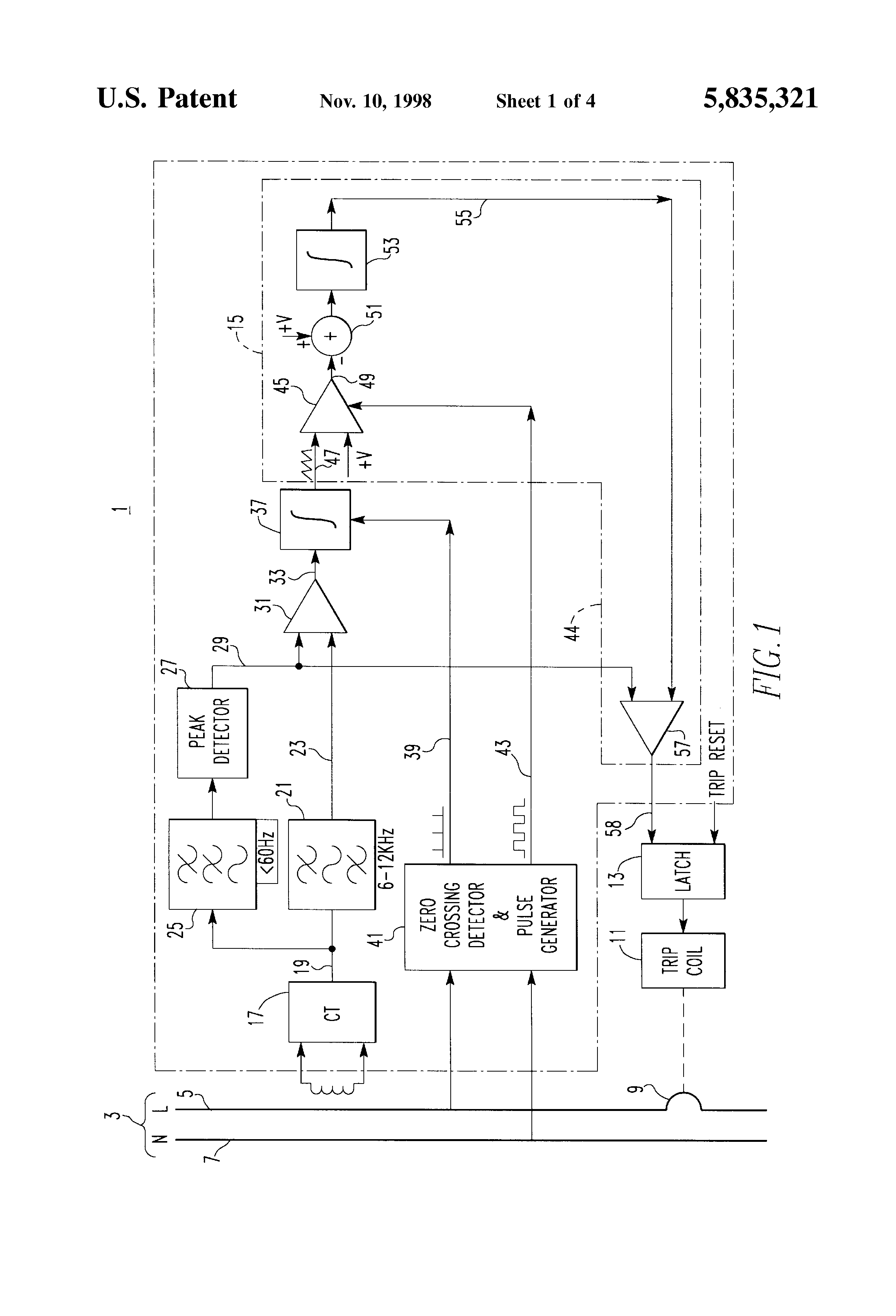 Patent Us5835321 Arc Fault Detection Apparatus And Circuit Breaker Volex Switch Wiring Diagram Drawing