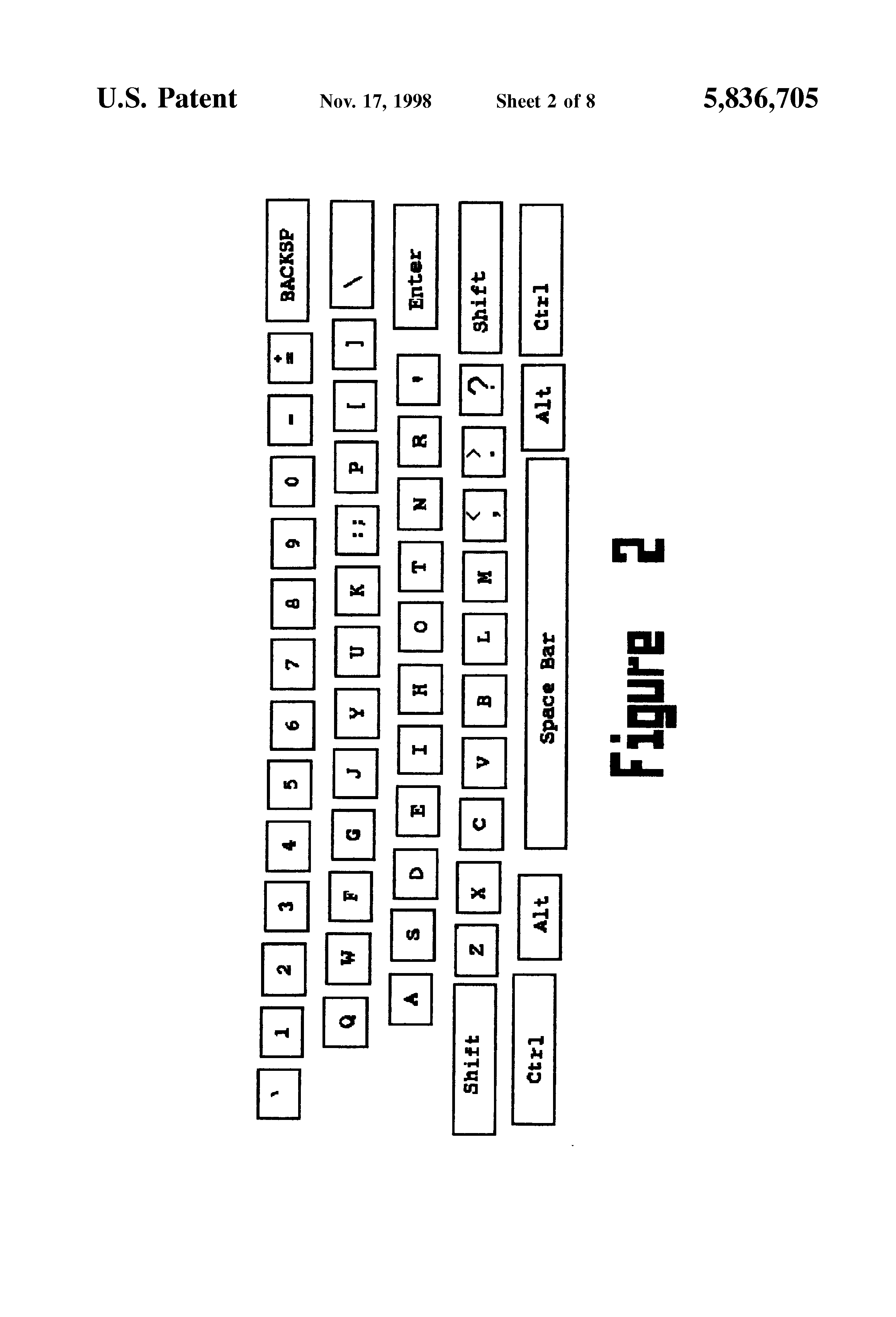 letter arrangement calculator patent us5836705 keyboard arrangement to maximize typing 16380 | US5836705 2
