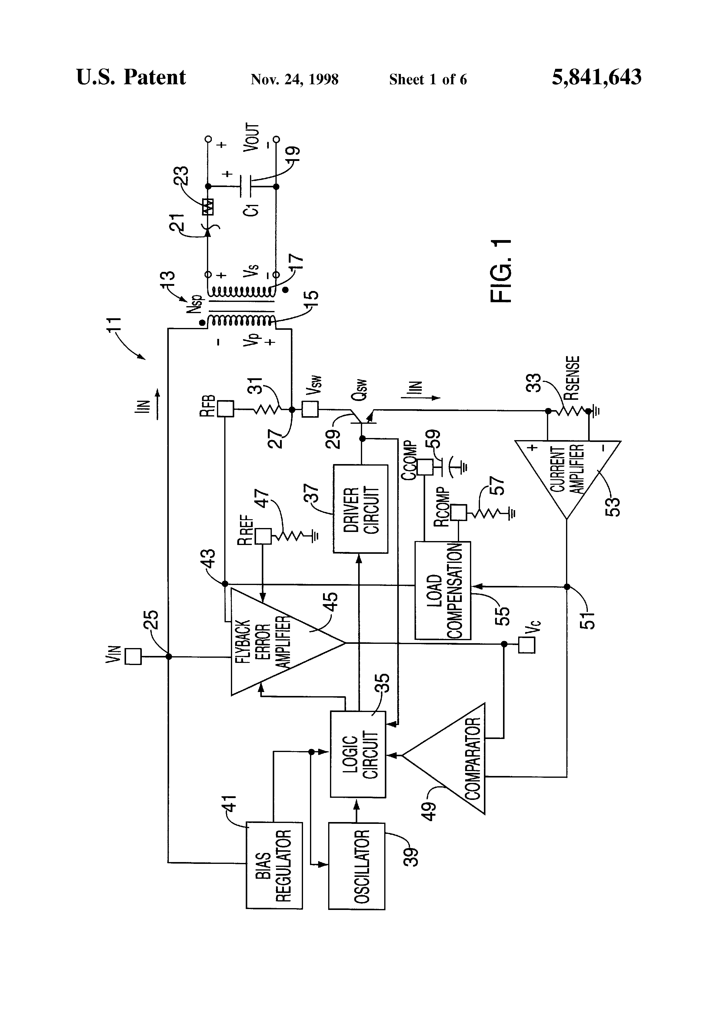 Patent Us5841643 Method And Apparatus For Isolated Flyback Precision Rectifier Voltagetocurrent Converter Drawing