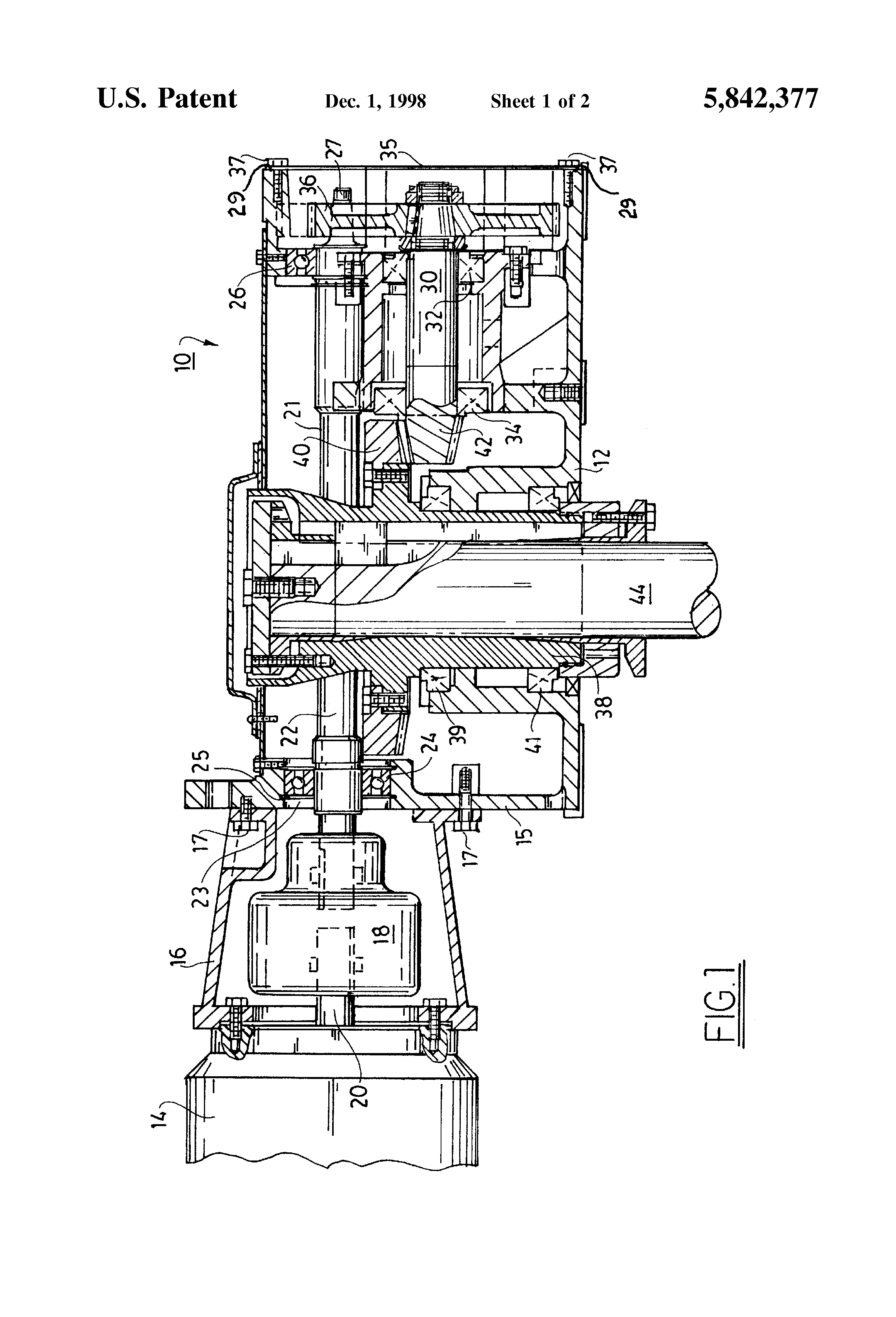 Patent US5842377 - Mixer gearbox assembly having a cross-shaft