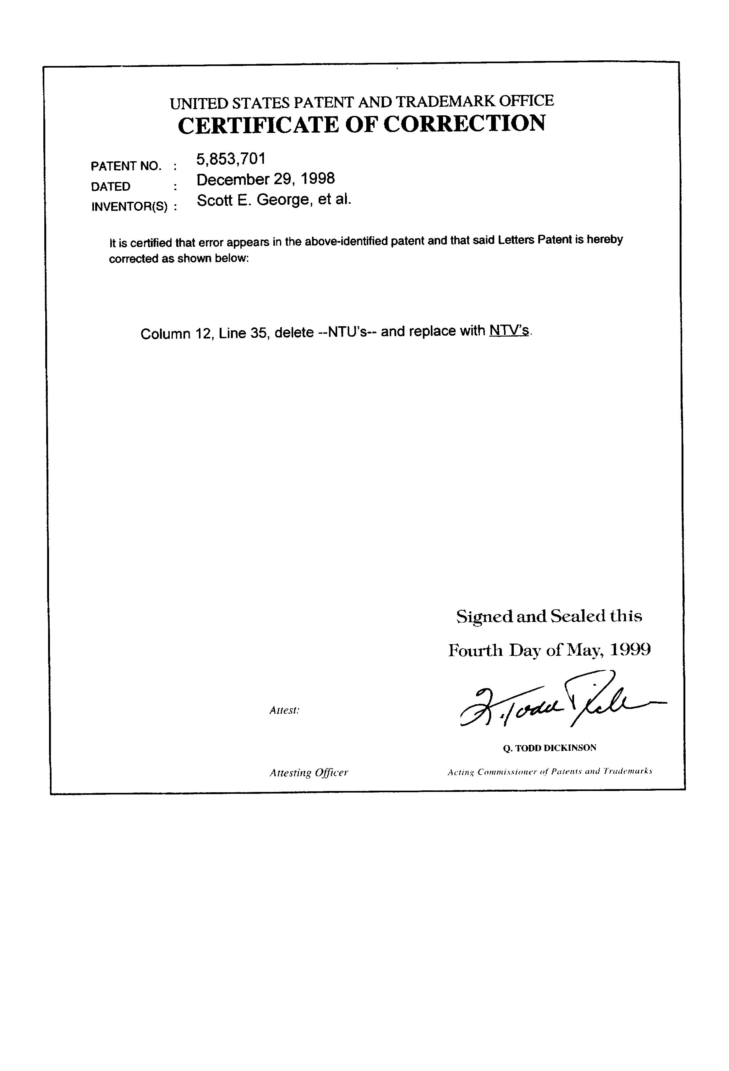 Patent Us5853701 Clear Aerosol Hair Spray Formulations