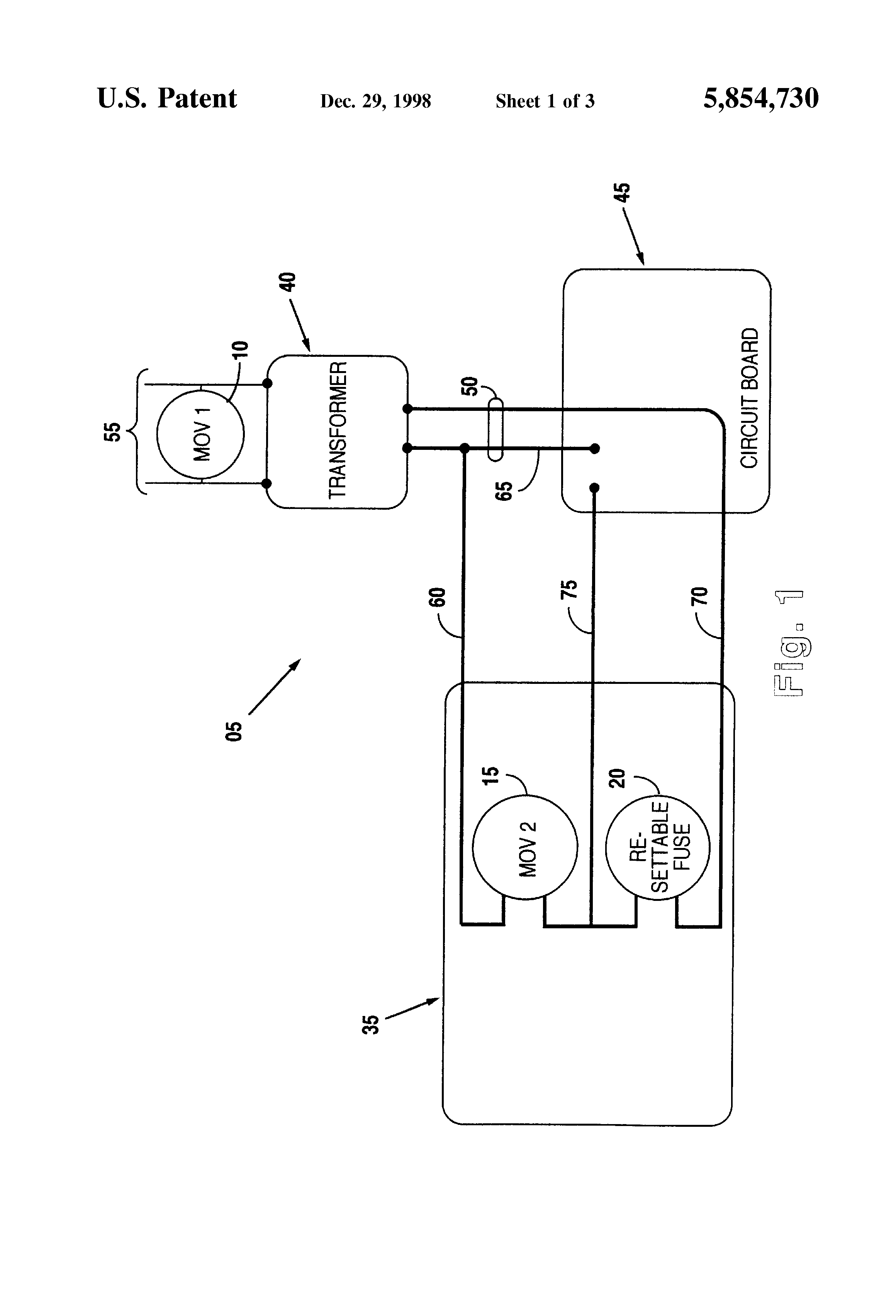 Patent Us5854730 Transient And Voltage Surge Protection System Of A Lv Generator Set The Downstream Circuits Drawing