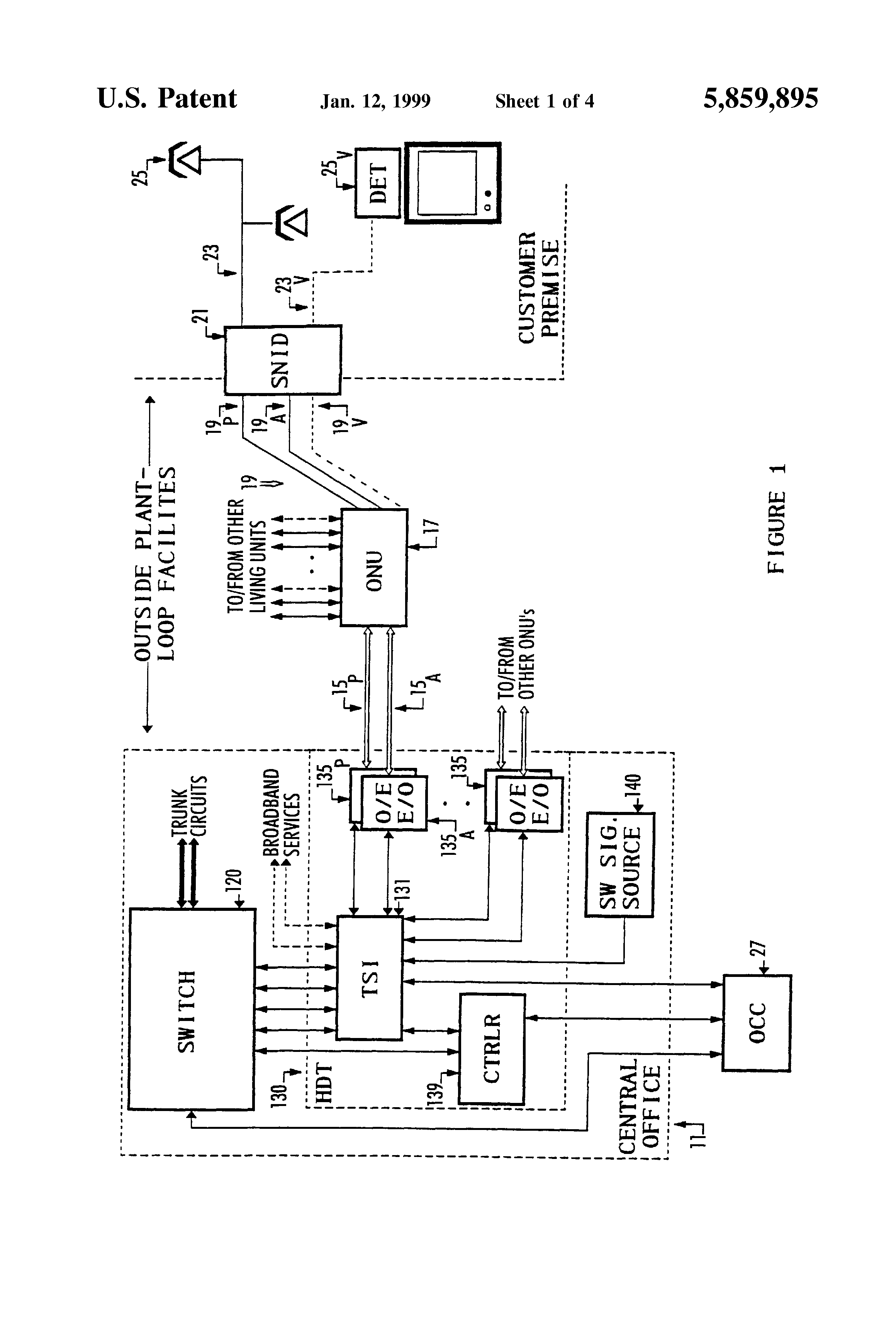 Patent Us5859895 Auxiliary Circuit Switching For