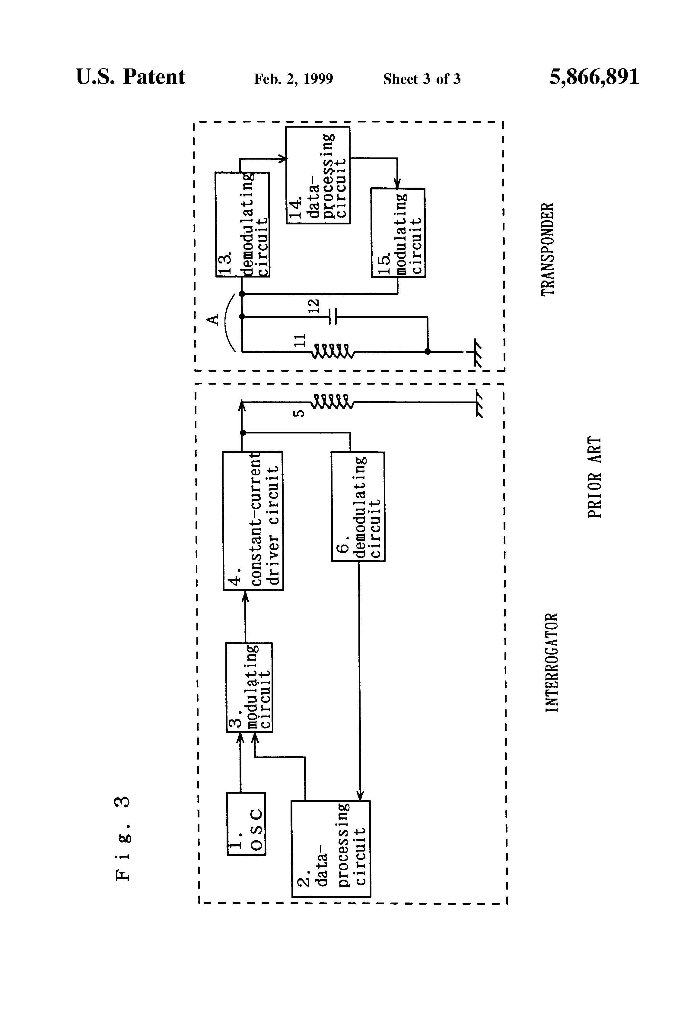 Patent Us5866891 Transmitter Receiver For Non Contact Ic Card Constant Current Driver Circuit Drawing