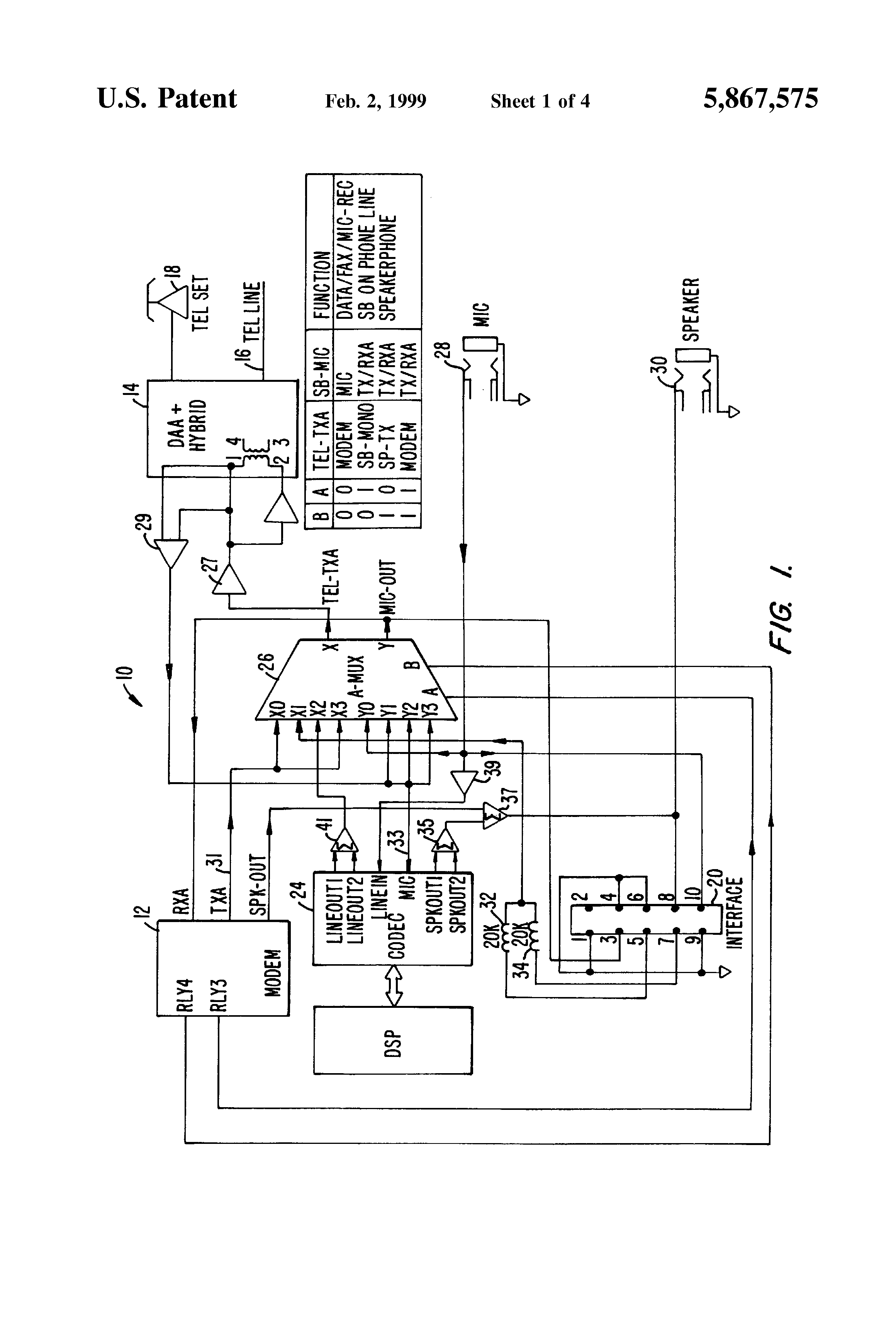 patent us5867575 - optimized interface between audio  modem board and sound board