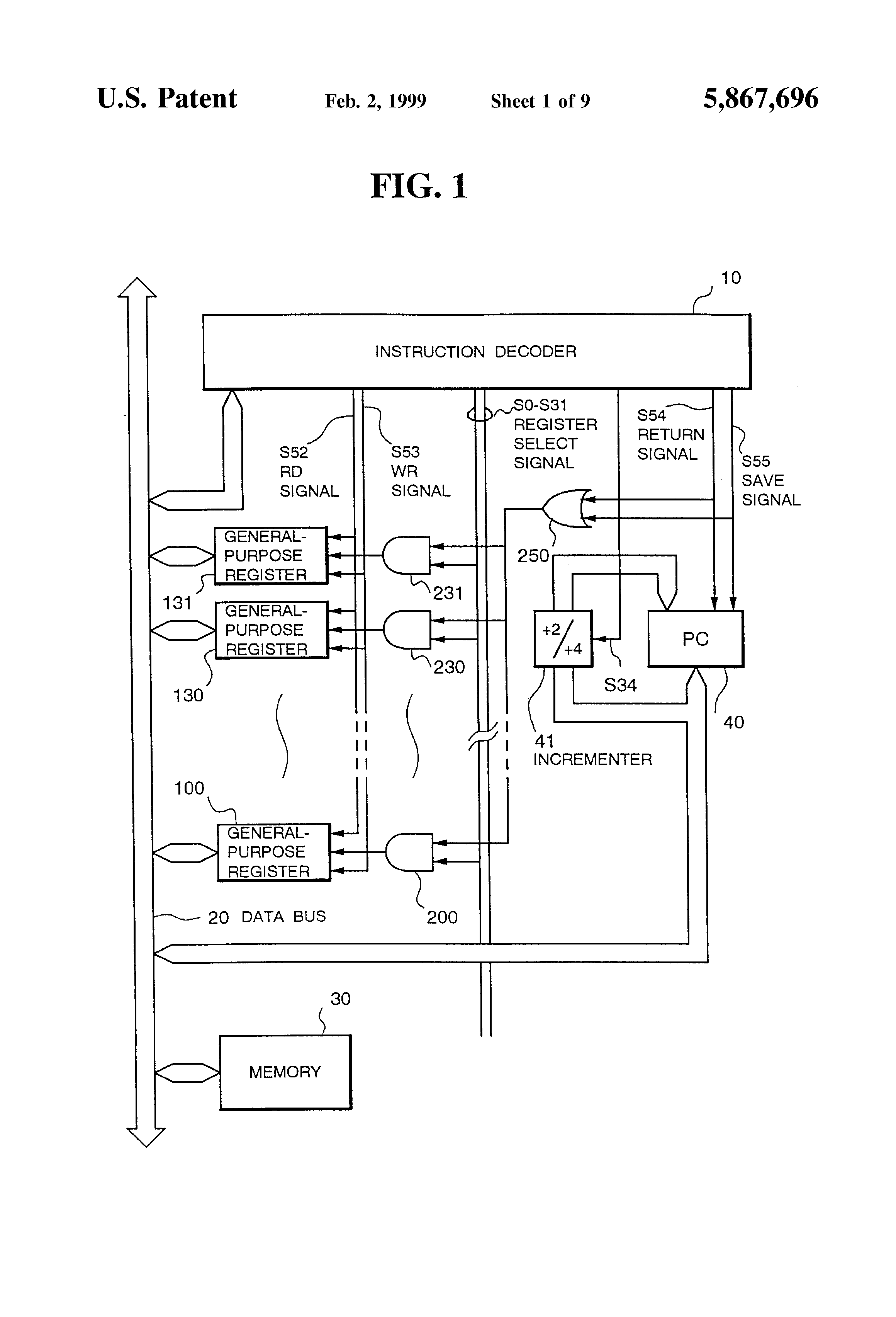 441 Singlechip Microcomputer Integrated Circuit Diagram Schematic Yaesu G 1000dxc Patent Us5867696 Saving A Program Counter Value As The Return