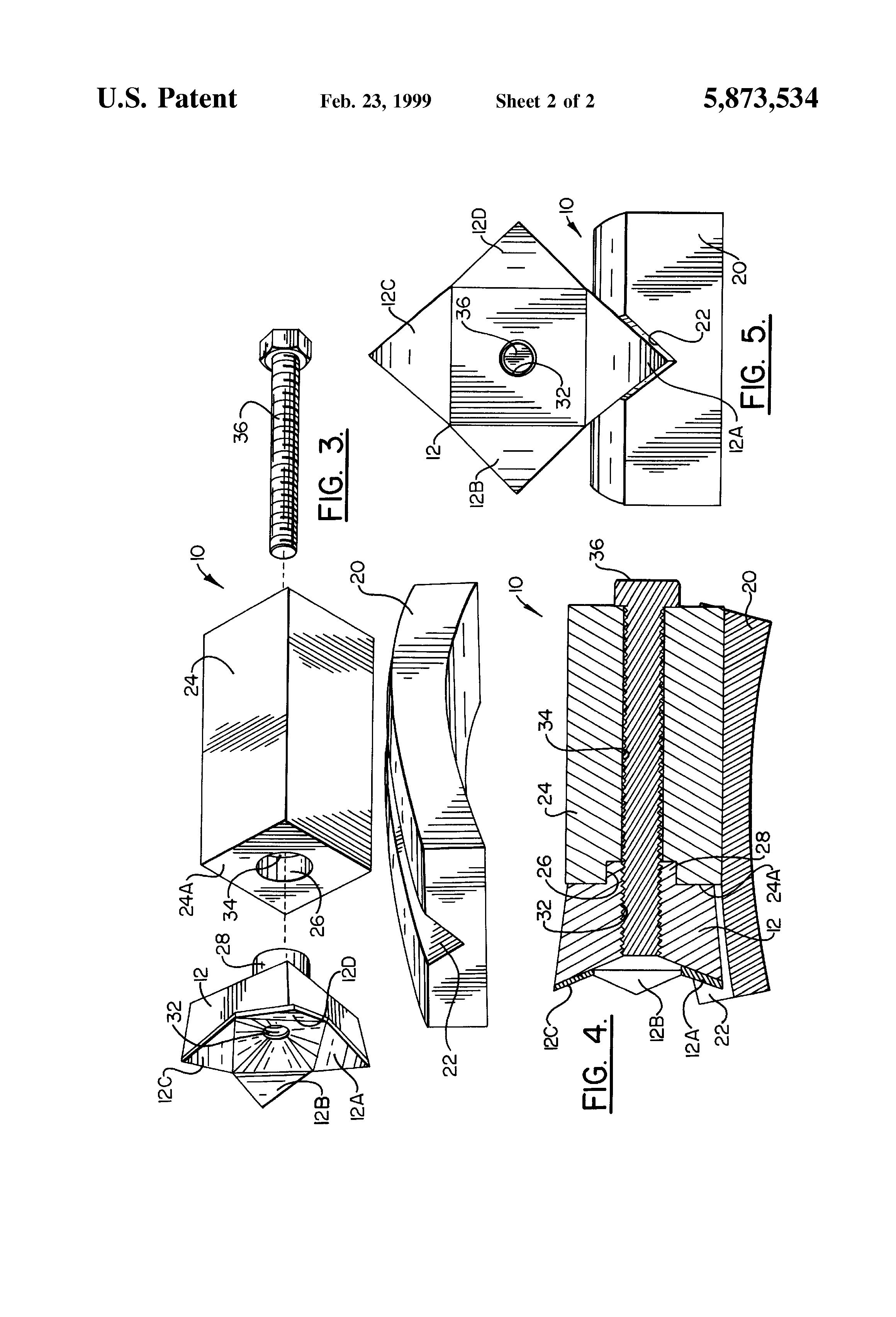 براءة الاختراع US5873534 - Cutter tooth holder assembly