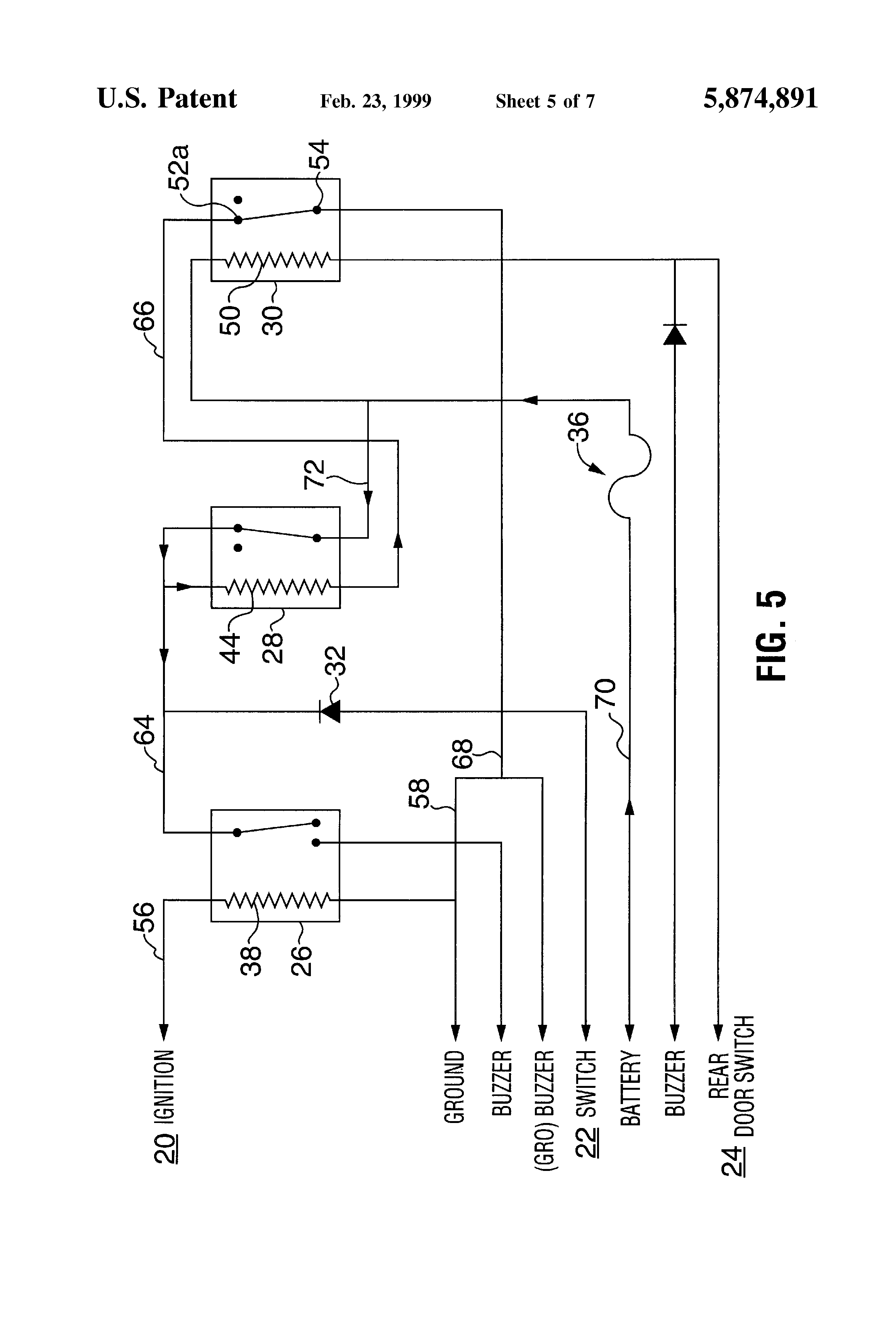 Patent Us5874891 - Alarm System For Use On A Bus
