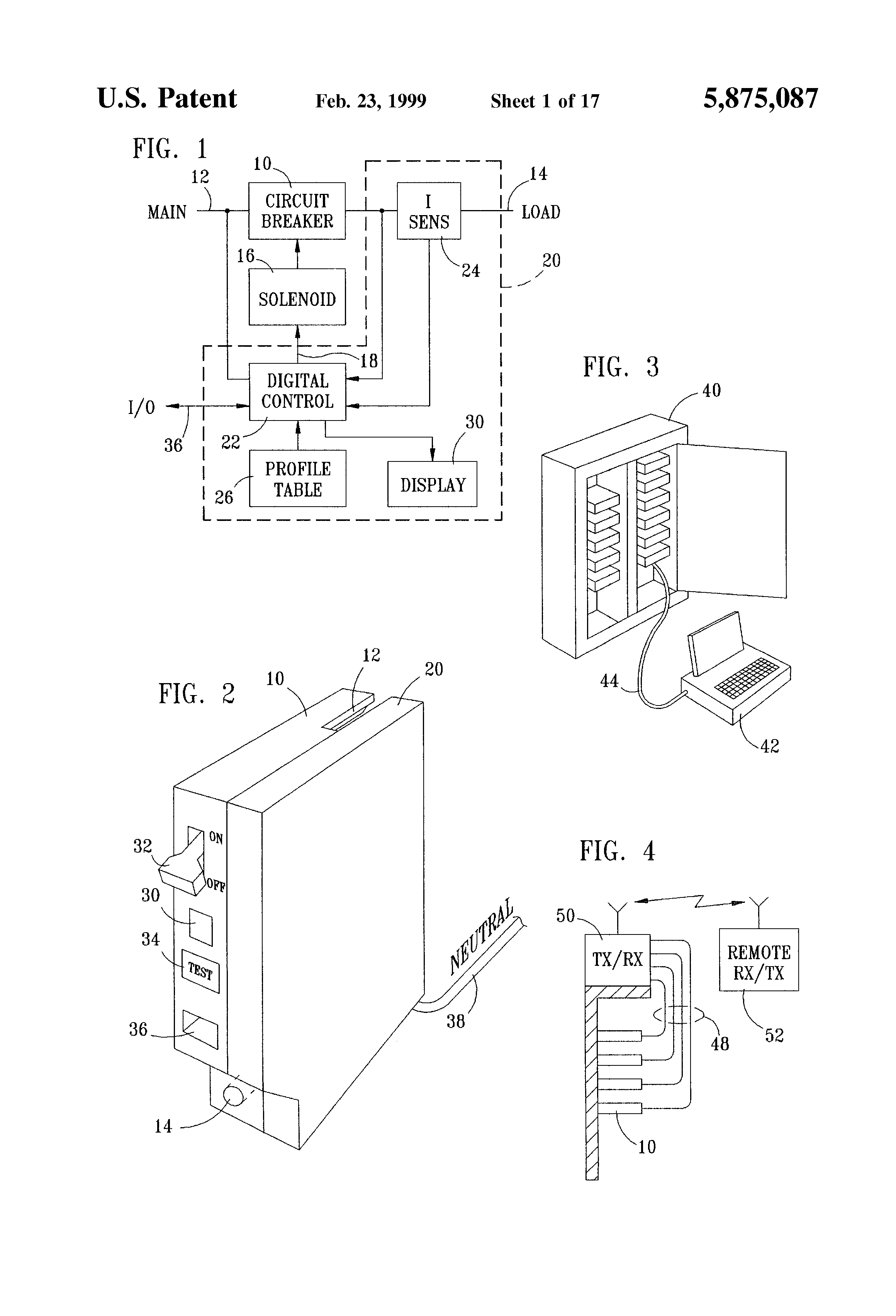 Patent Us5875087 Circuit Breaker With Integrated Control Features Figure 1 Variants Of Tripping Curves Drawing