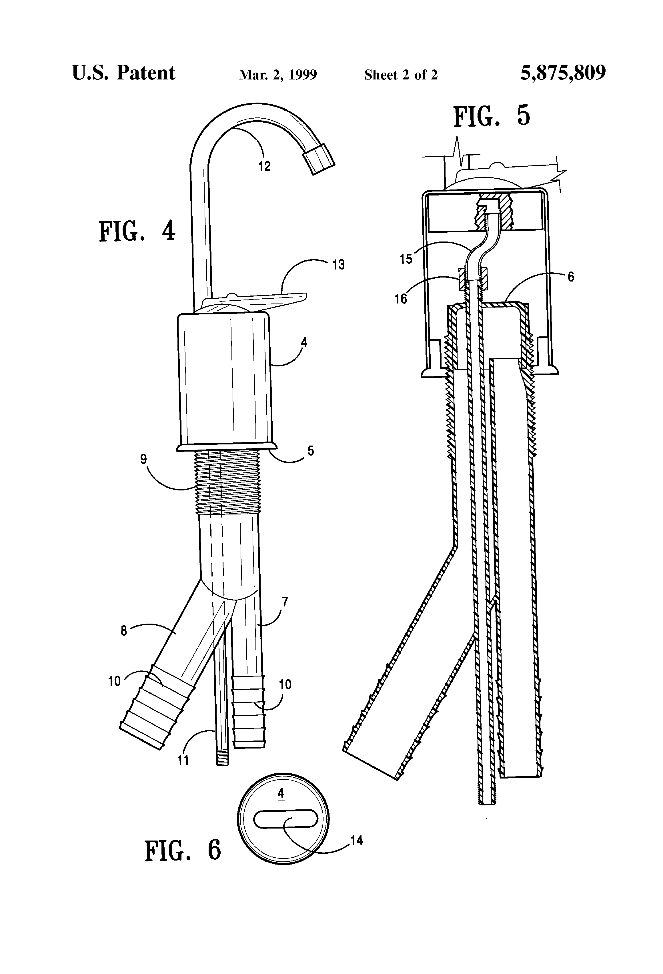 Patent Us5875809 Accessory Faucet For Purified Water In