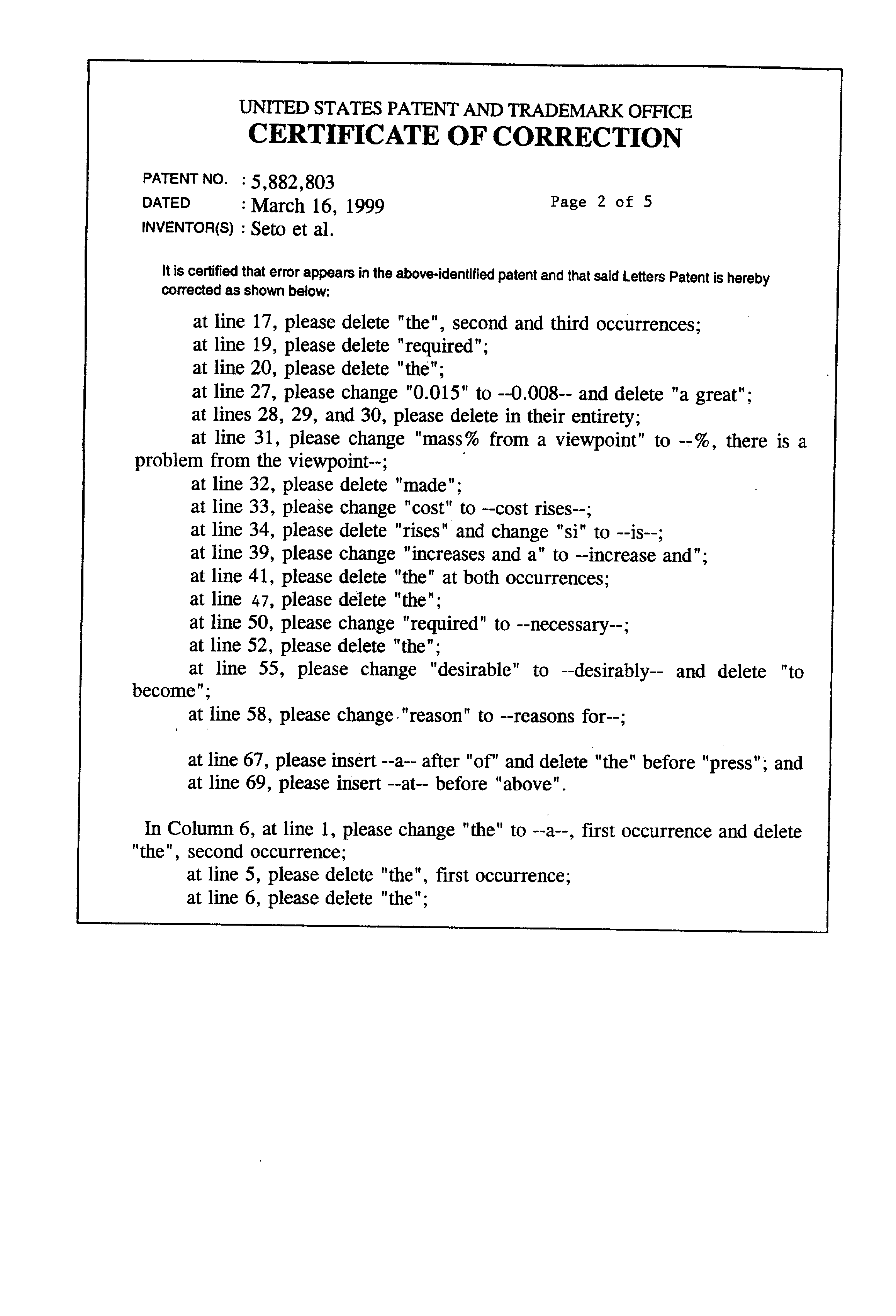 Patent Us5882803 High Strength Hot Dip Galvannealed