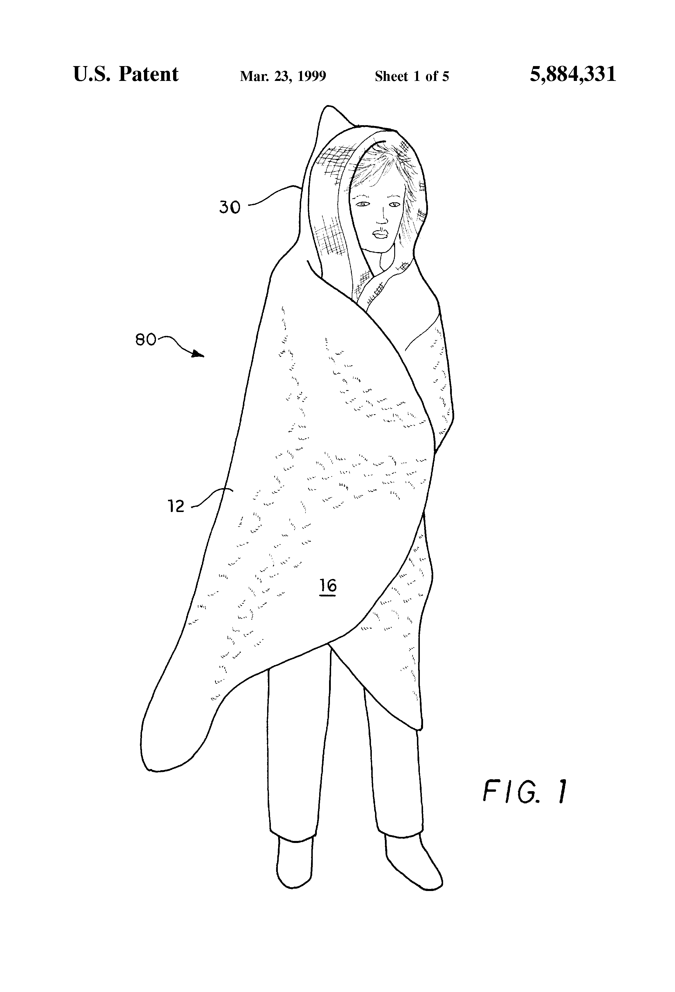 Patent US5884331 - Combined seat cushion and personal cover