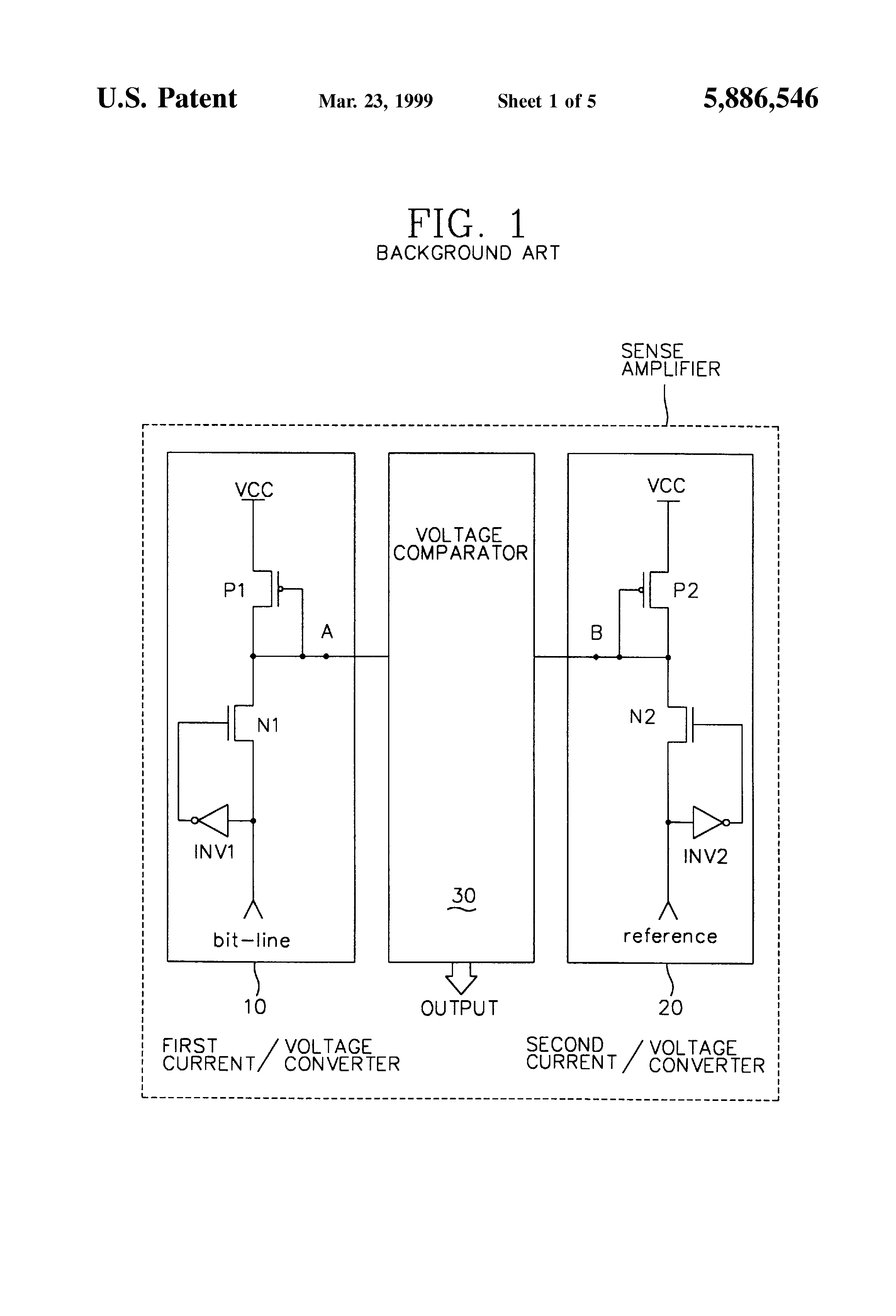 Patent Us5886546 Current Voltage Converter Sense Amplifier And To Drawing